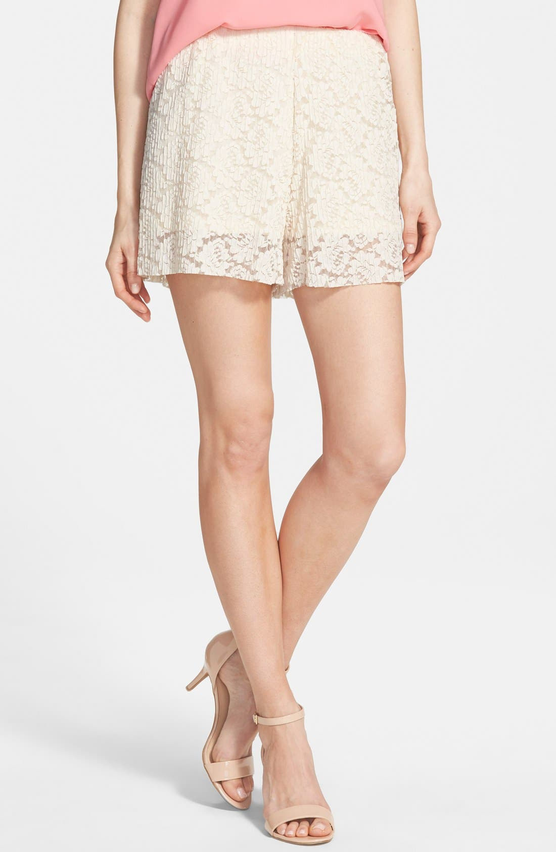 Pleated Lace Shorts,                         Main,                         color, 250