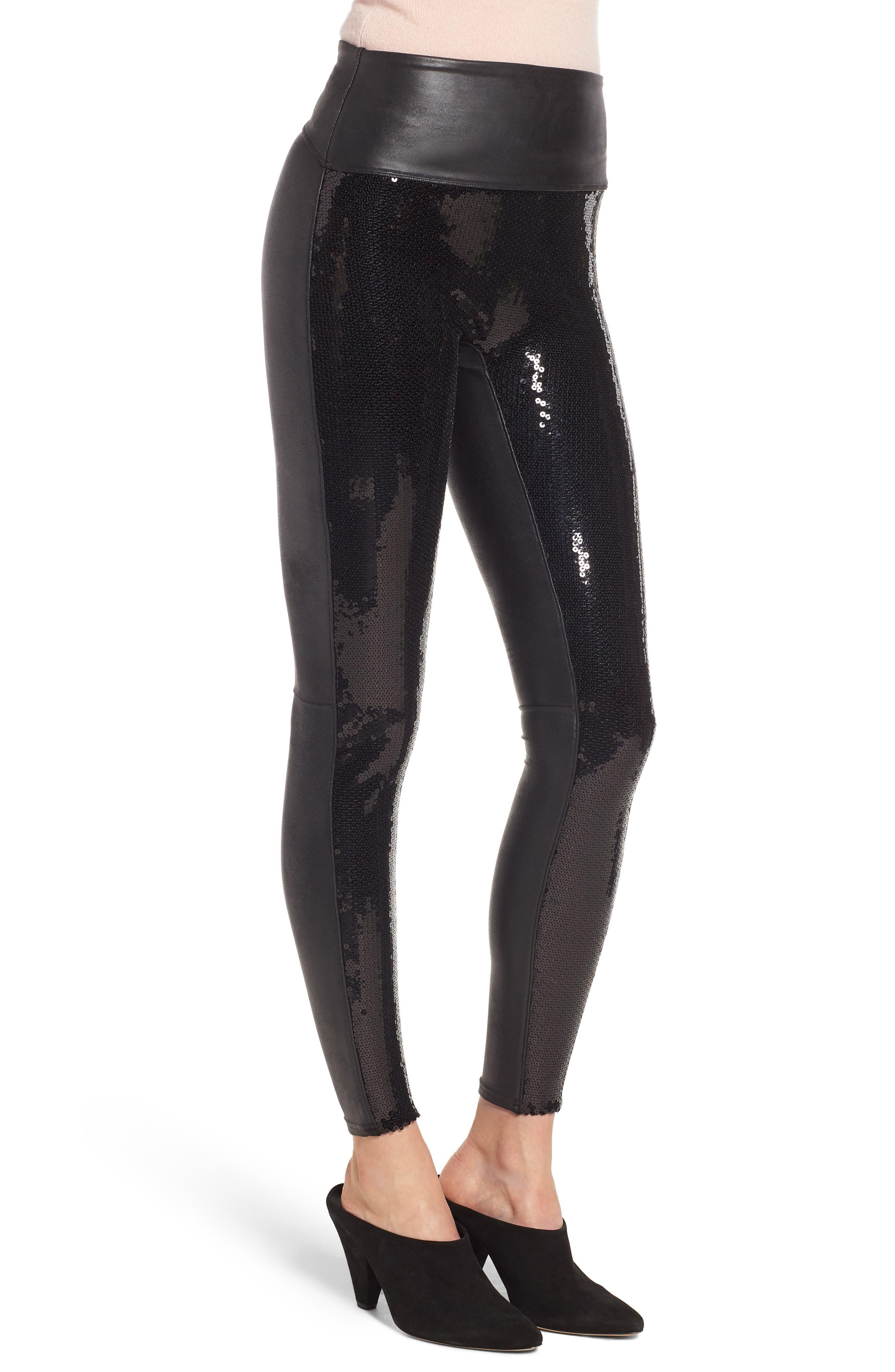 Sequin Faux Leather Leggings,                             Alternate thumbnail 3, color,                             BLACK SEQUIN