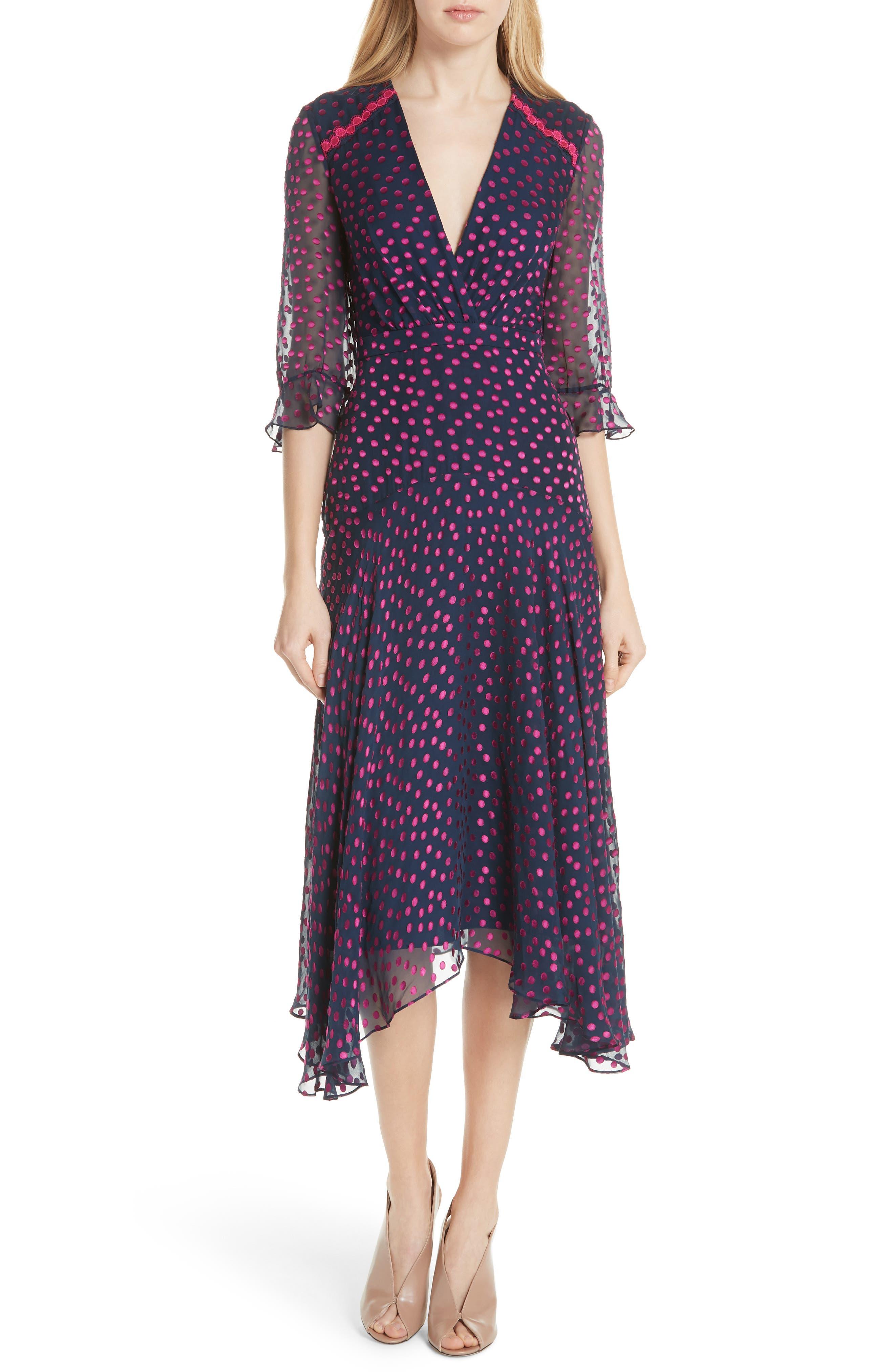 Edith Silk Blend Dress,                         Main,                         color, NAVY/ MAGENTA