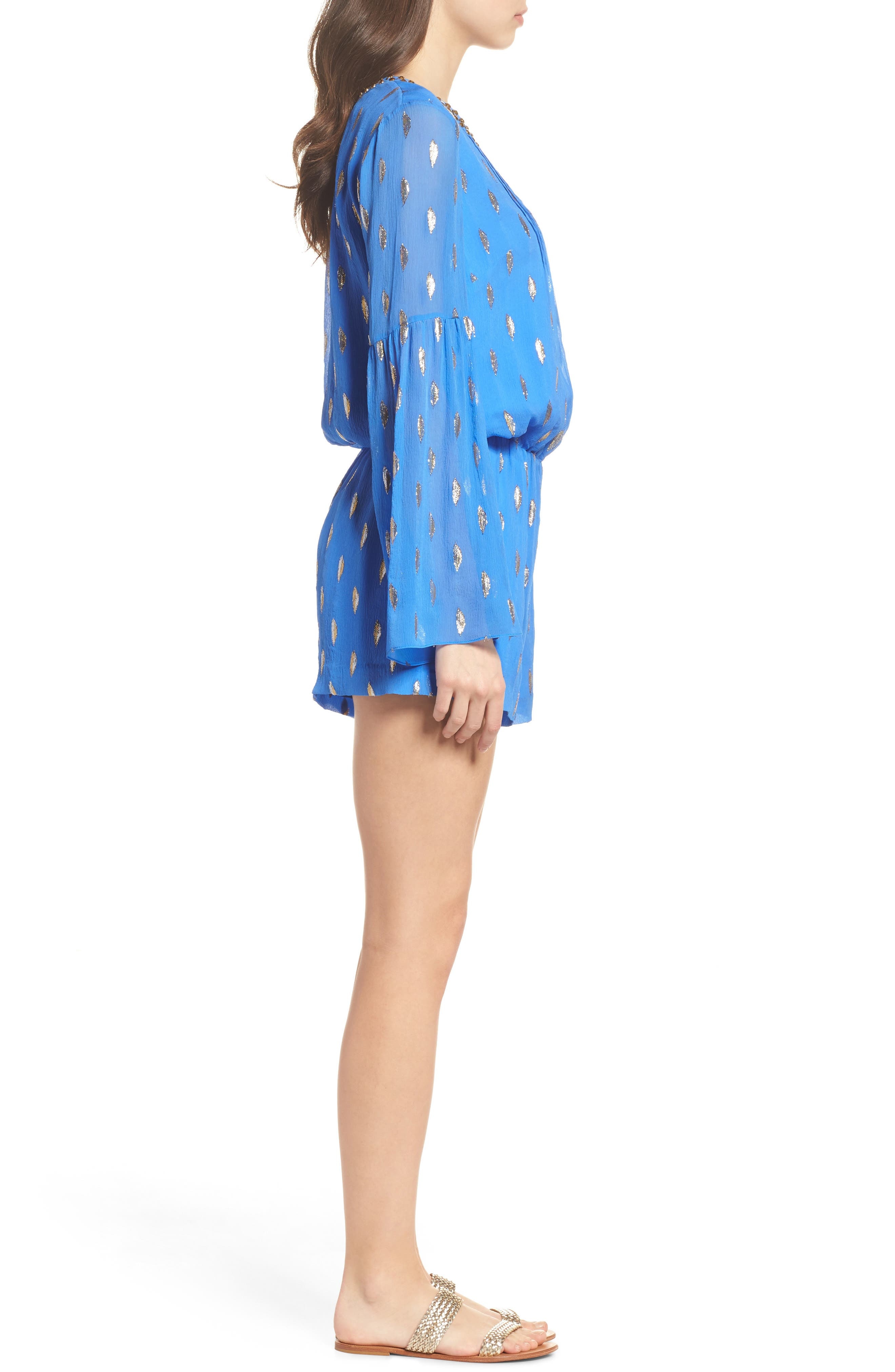 LILLY PULITZER<SUP>®</SUP>,                             Ariele Silk Romper,                             Alternate thumbnail 3, color,                             400