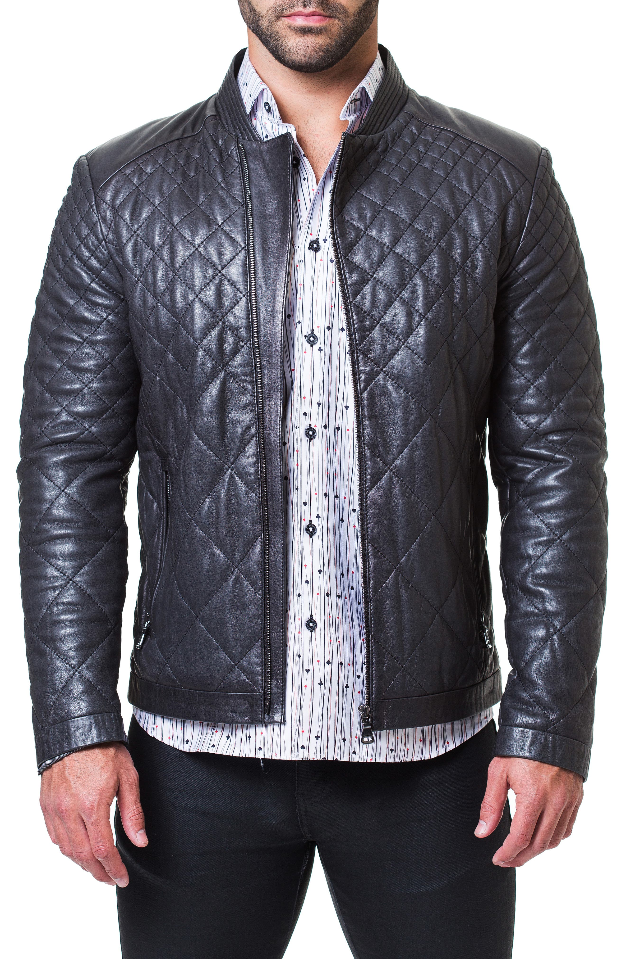Quilted Leather Jacket,                             Main thumbnail 1, color,                             BLACK