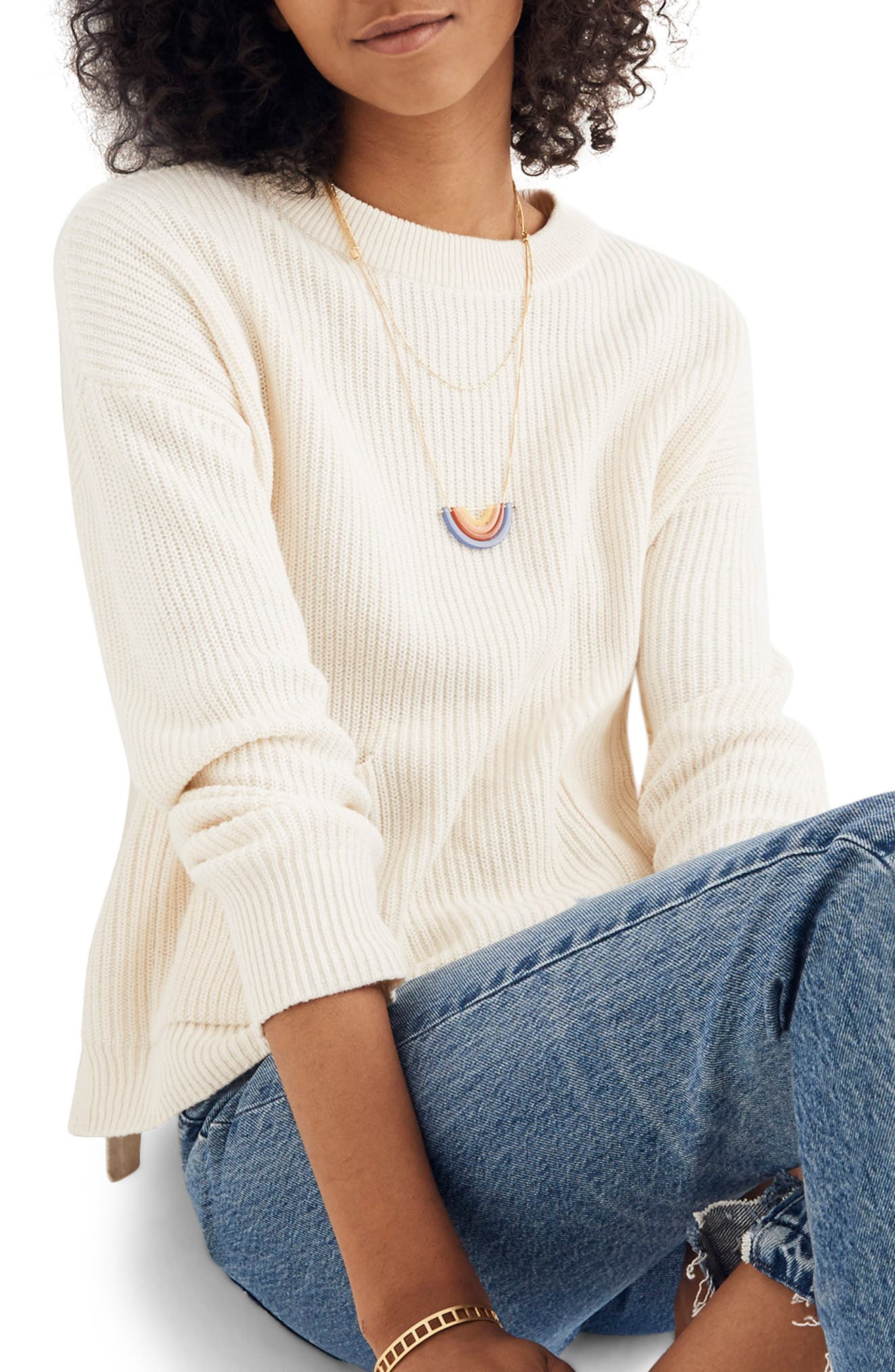 Patch Pocket Pullover Sweater,                         Main,                         color, BRIGHT IVORY