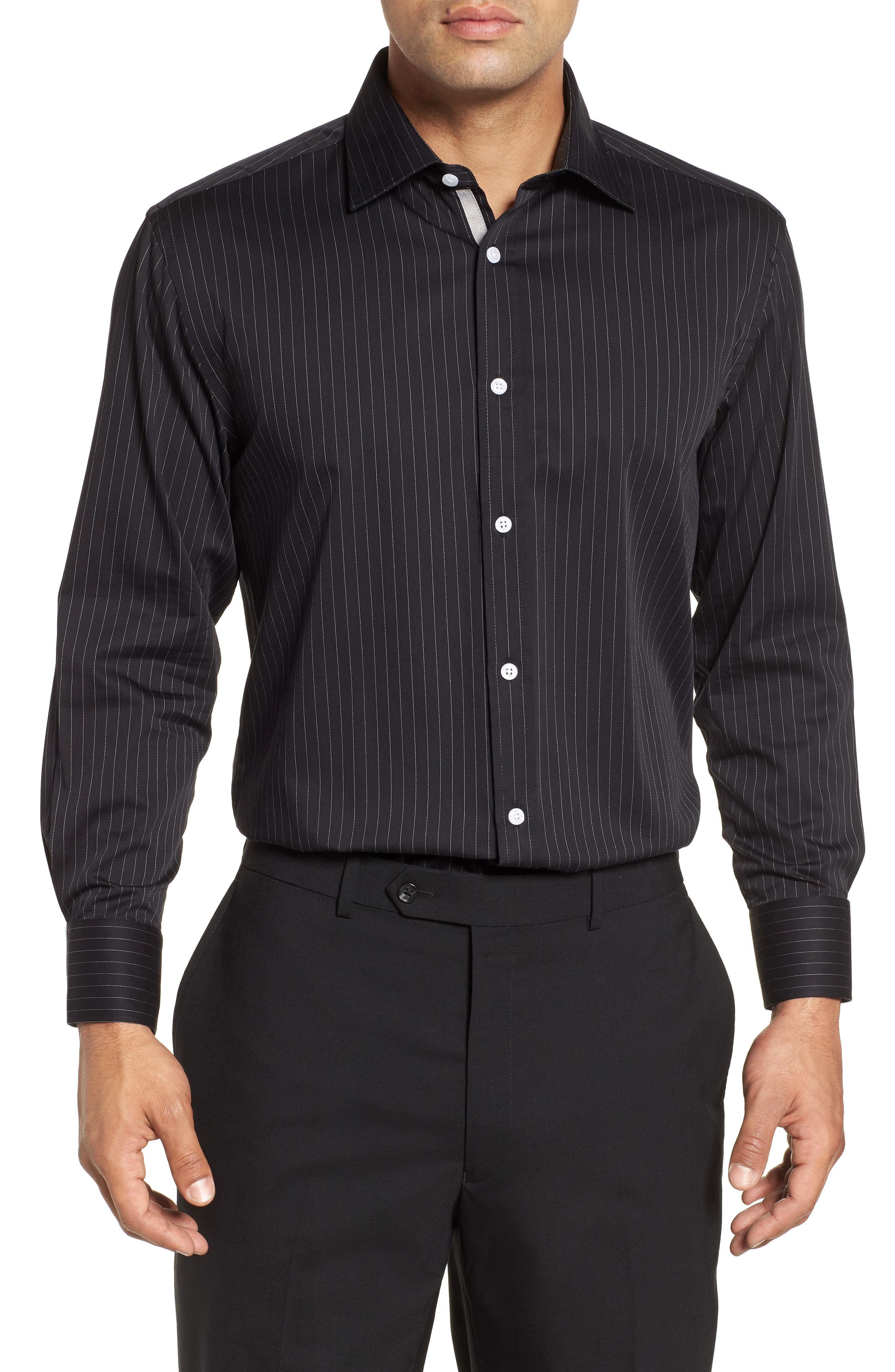 Regular Fit Stretch Stripe Dress Shirt,                             Main thumbnail 1, color,                             BLACK