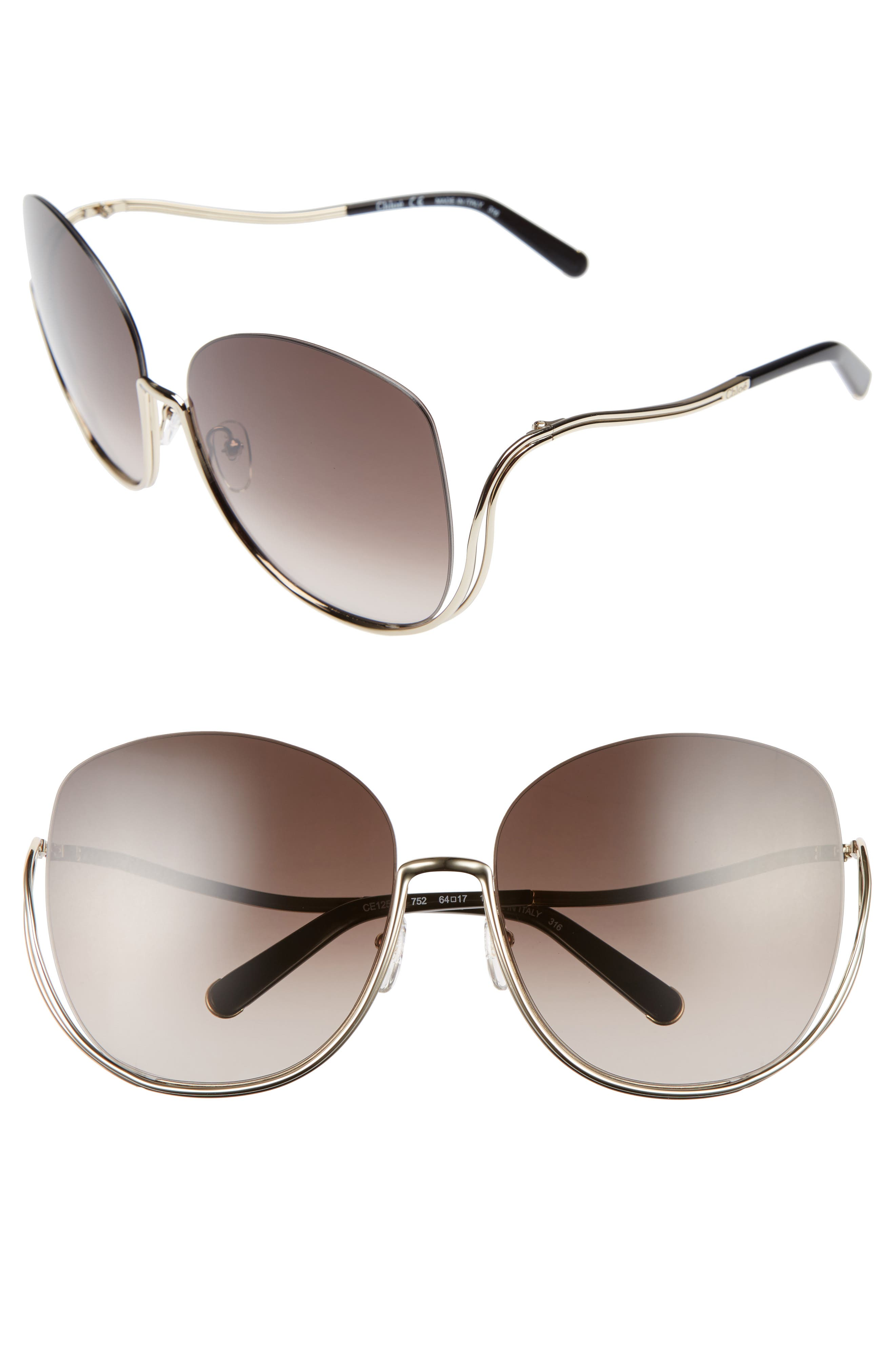 CHLOÉ,                             Milla 64mm Oversize Sunglasses,                             Main thumbnail 1, color,                             710