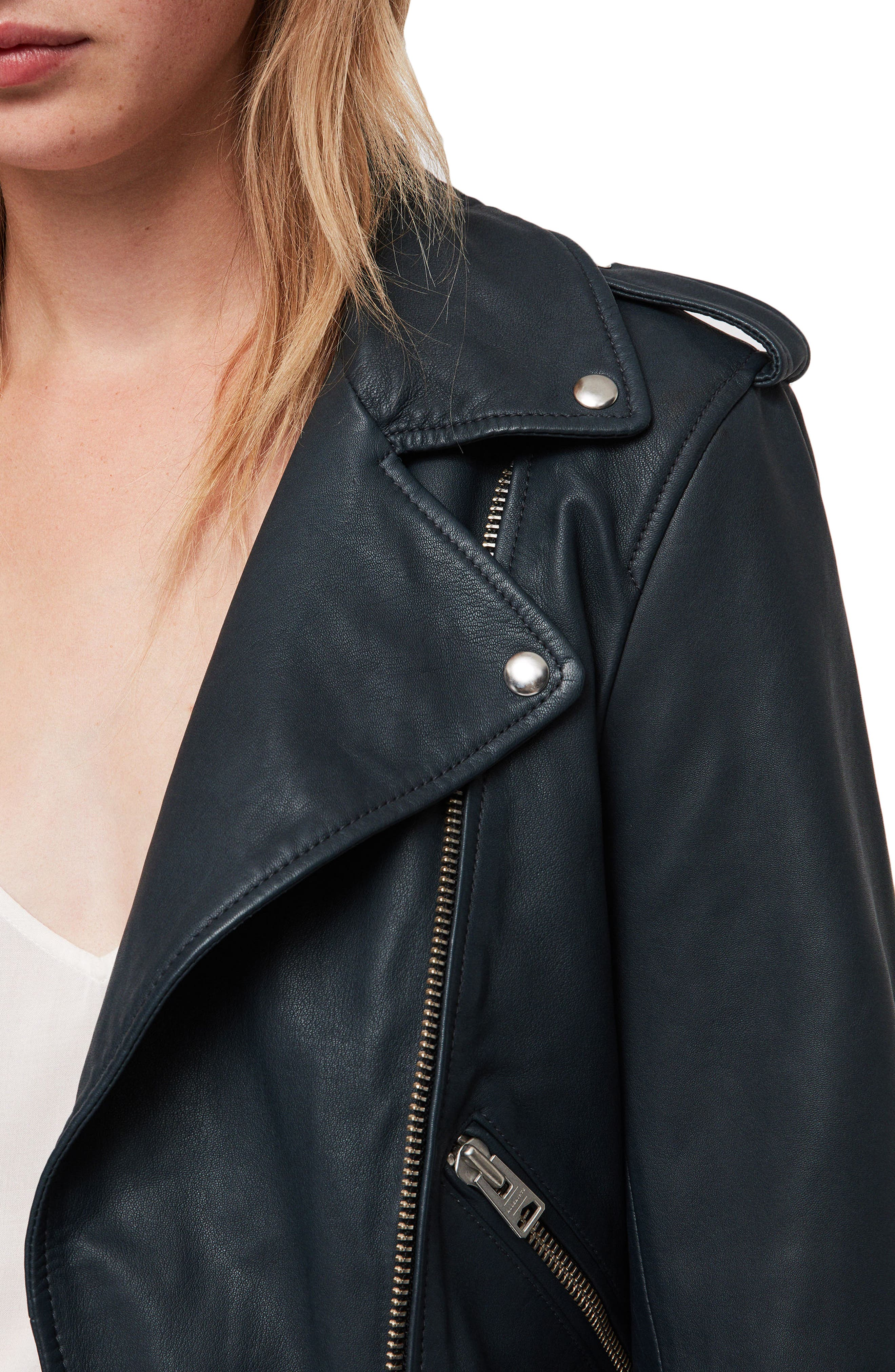 Balfern Leather Biker Jacket,                             Alternate thumbnail 4, color,                             404