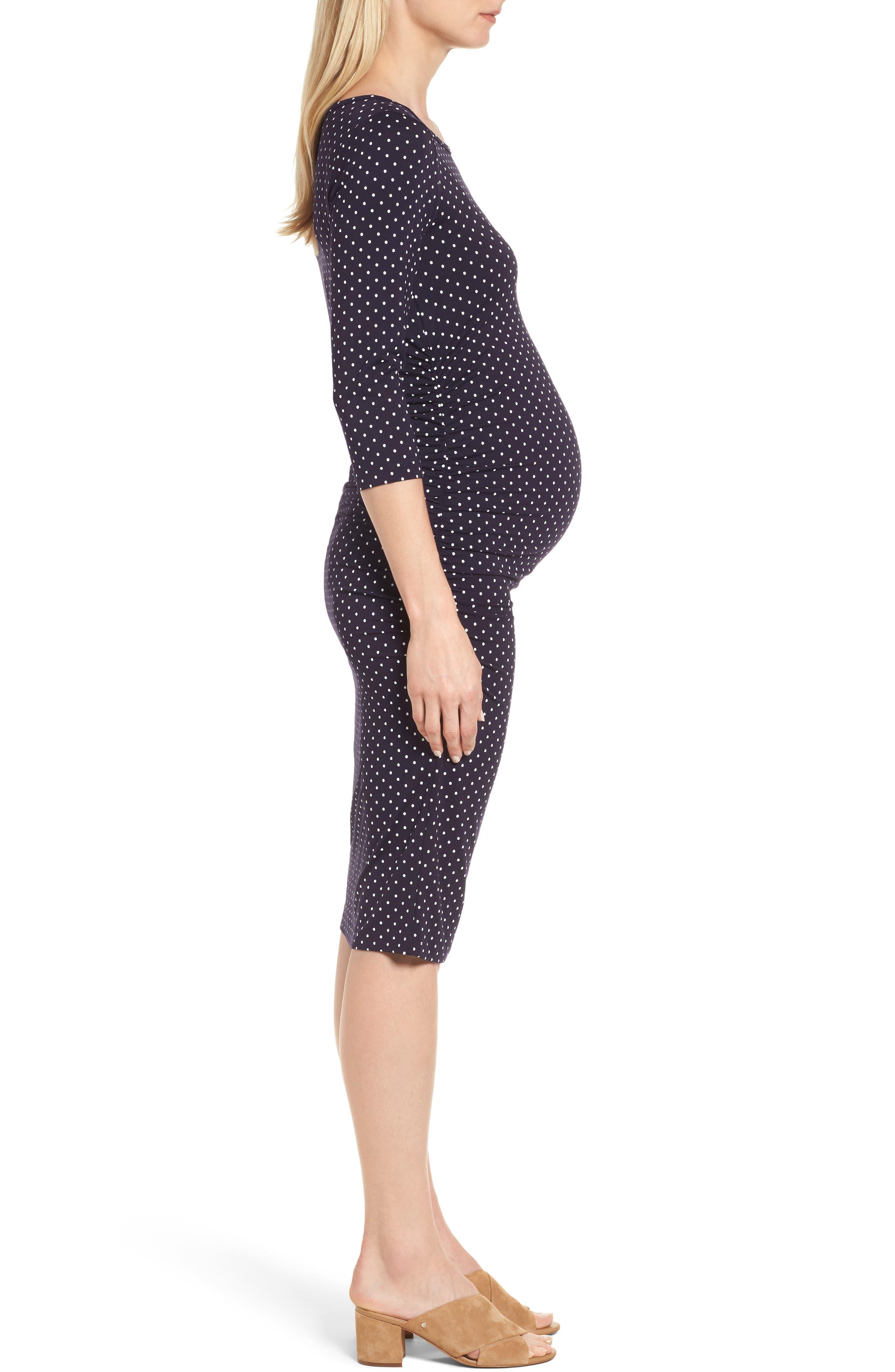 Jennifer Dot Ruched Maternity Dress,                             Alternate thumbnail 3, color,                             NAVY POLKA PRINT