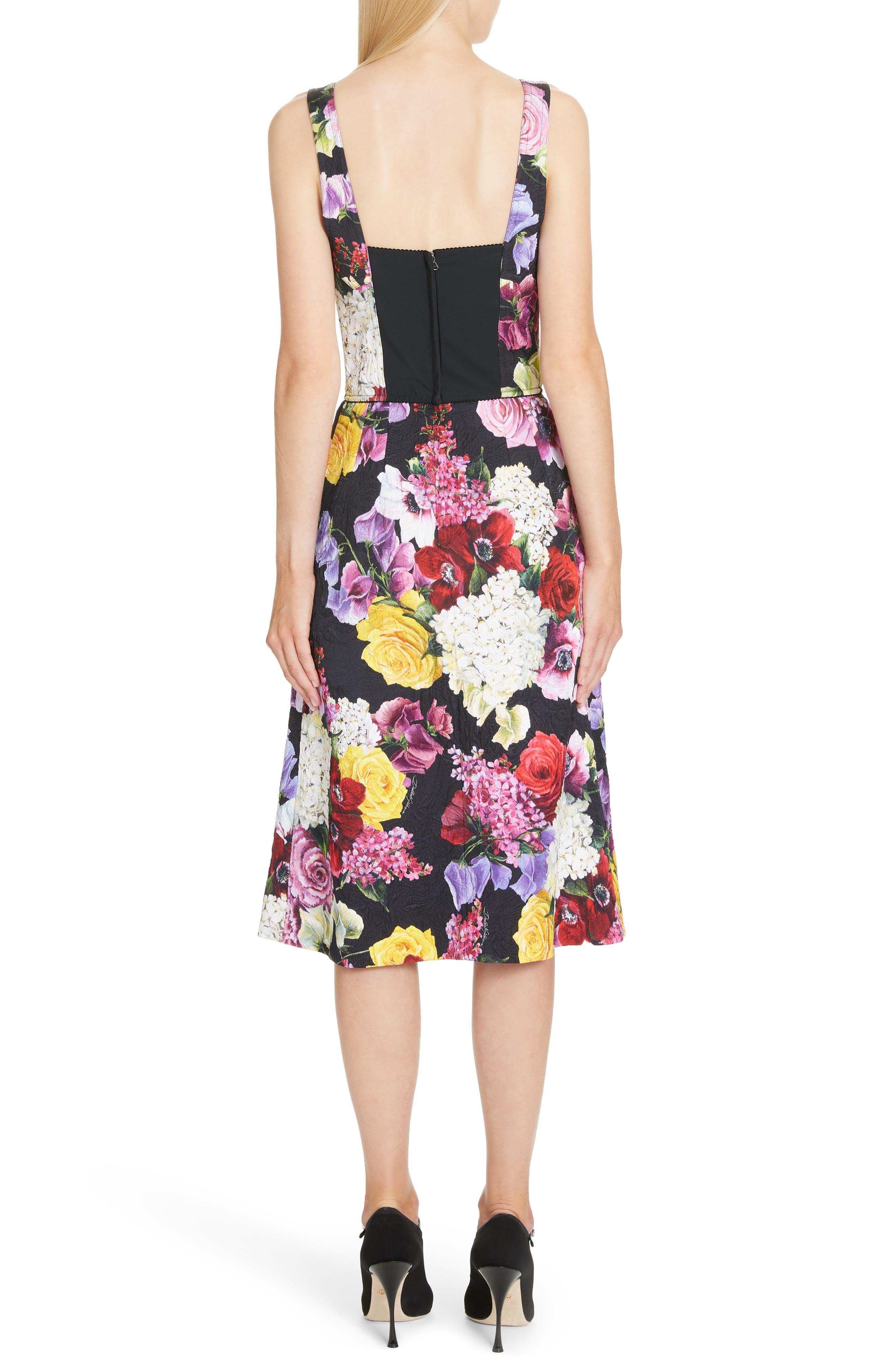 Floral Print Brocade Bustier Dress,                             Alternate thumbnail 2, color,                             HNW86 BLACK FLORAL