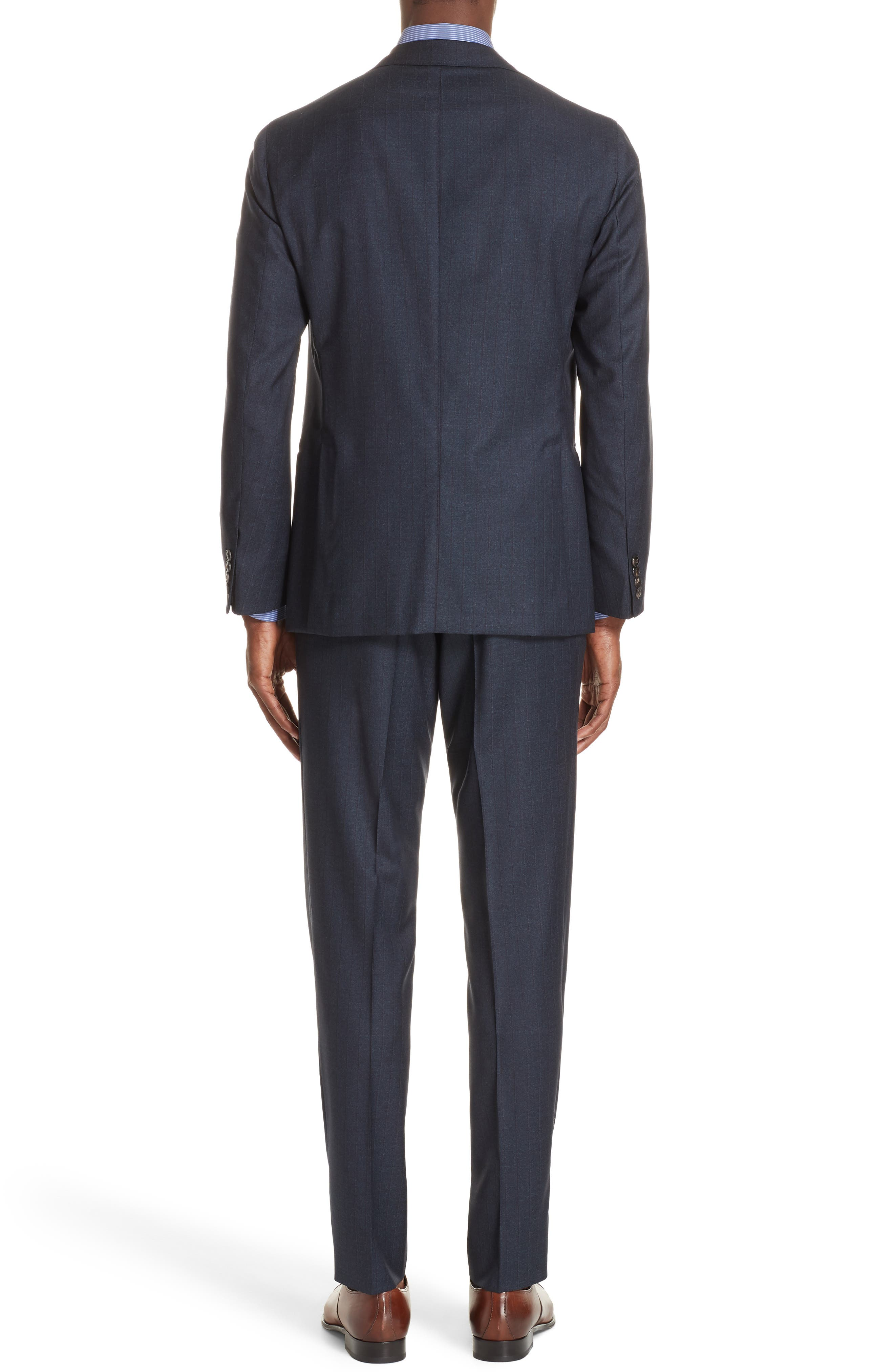 Trim Fit Stripe Wool Suit,                             Alternate thumbnail 2, color,                             NAVY