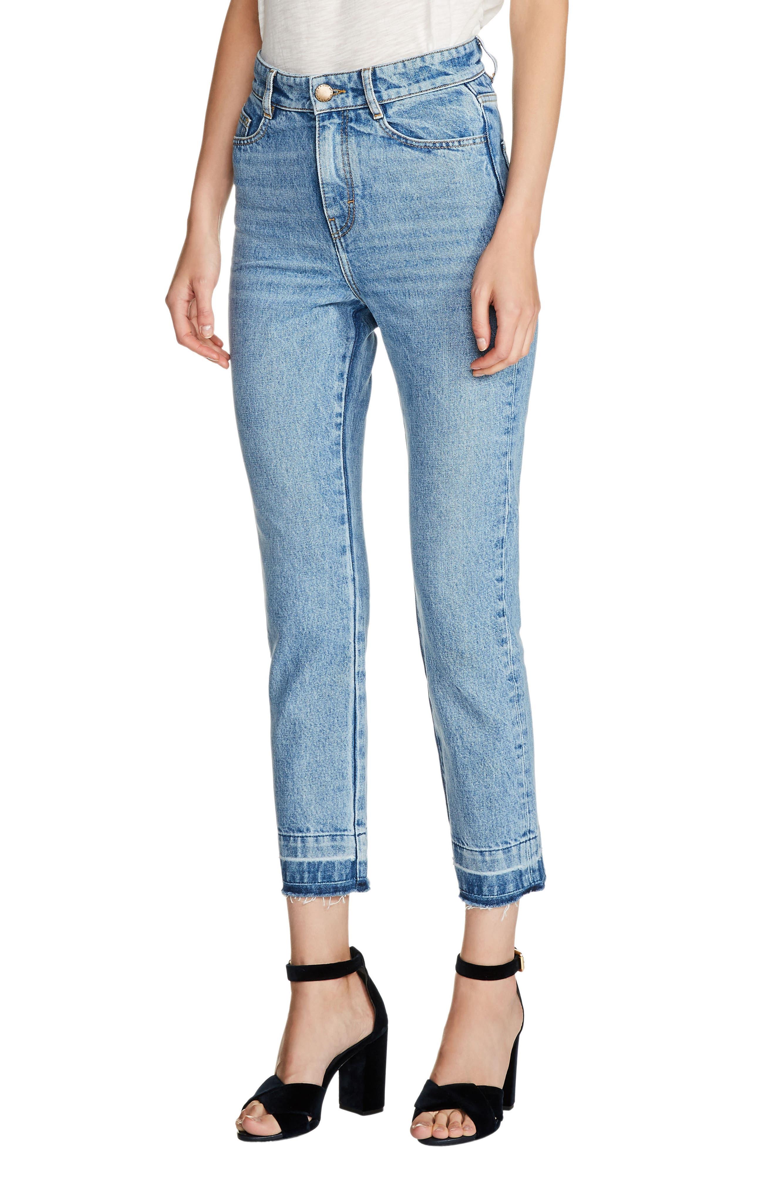 High Waist Straight Crop Jeans,                         Main,                         color, 400