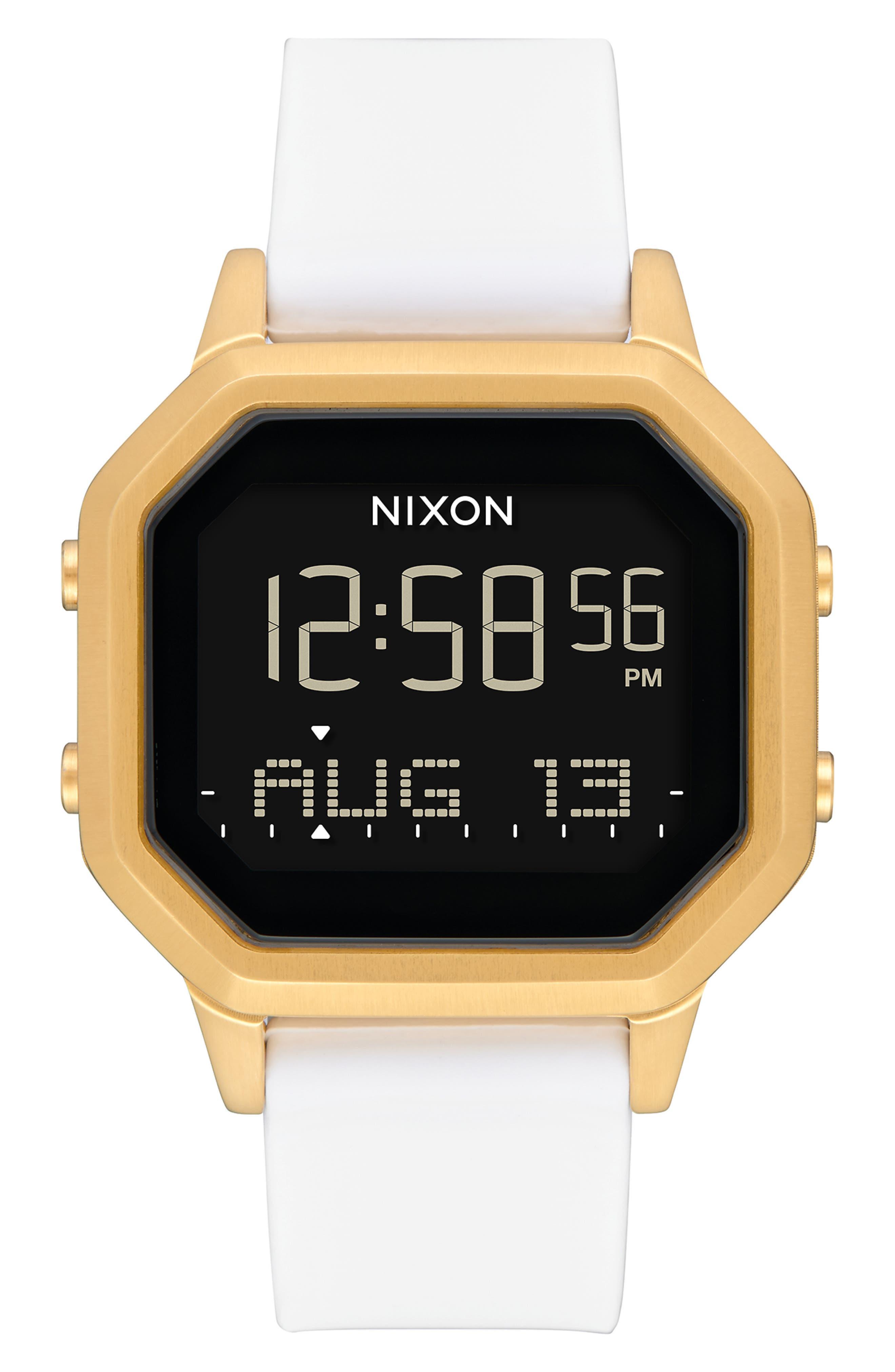 Siren Digital Watch, 36mm,                             Main thumbnail 1, color,                             WHITE/ BLACK/ GOLD