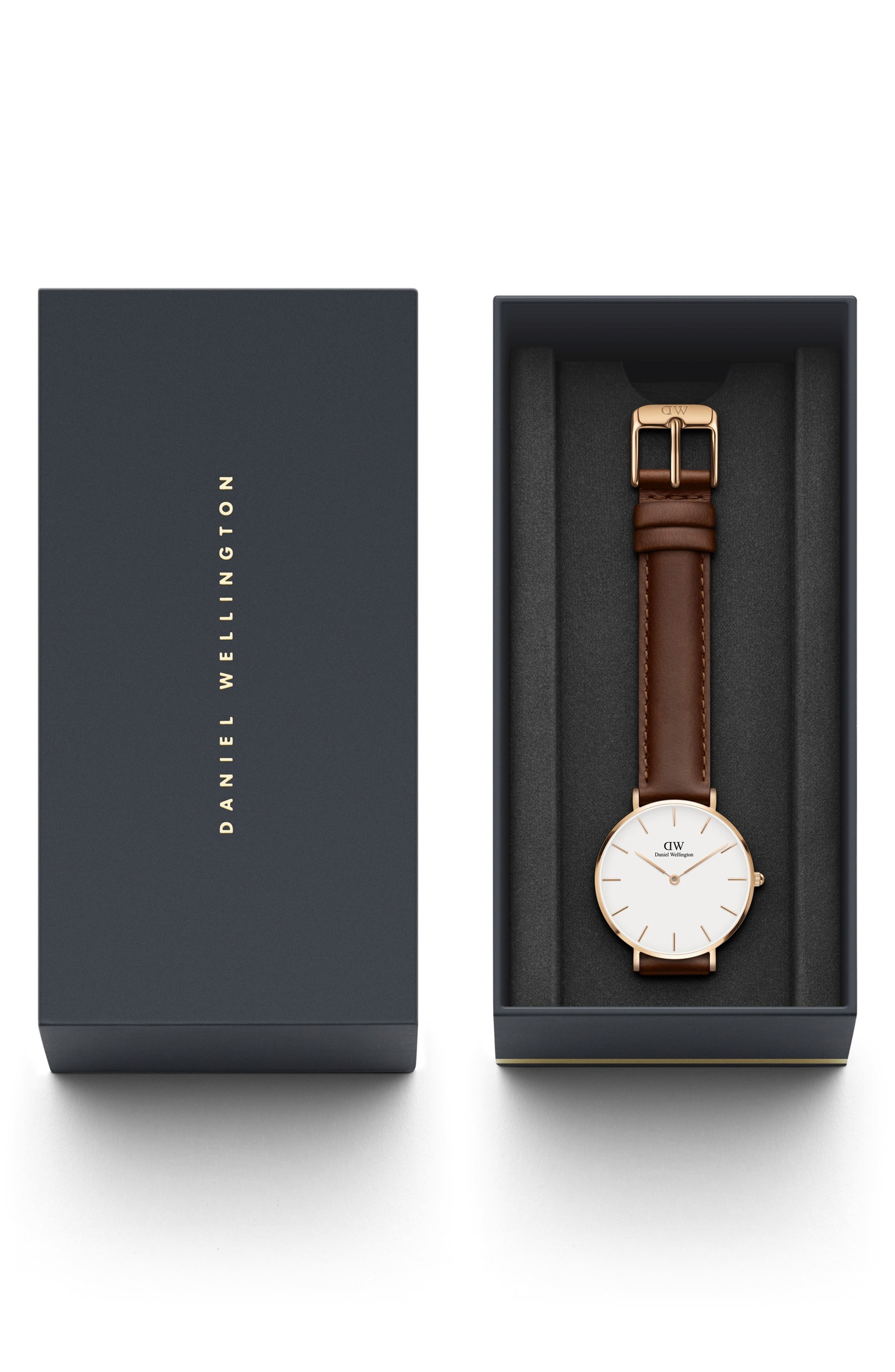 Classic Petite Leather Strap Watch, 32mm,                             Alternate thumbnail 3, color,                             BROWN/ WHITE/ ROSE GOLD