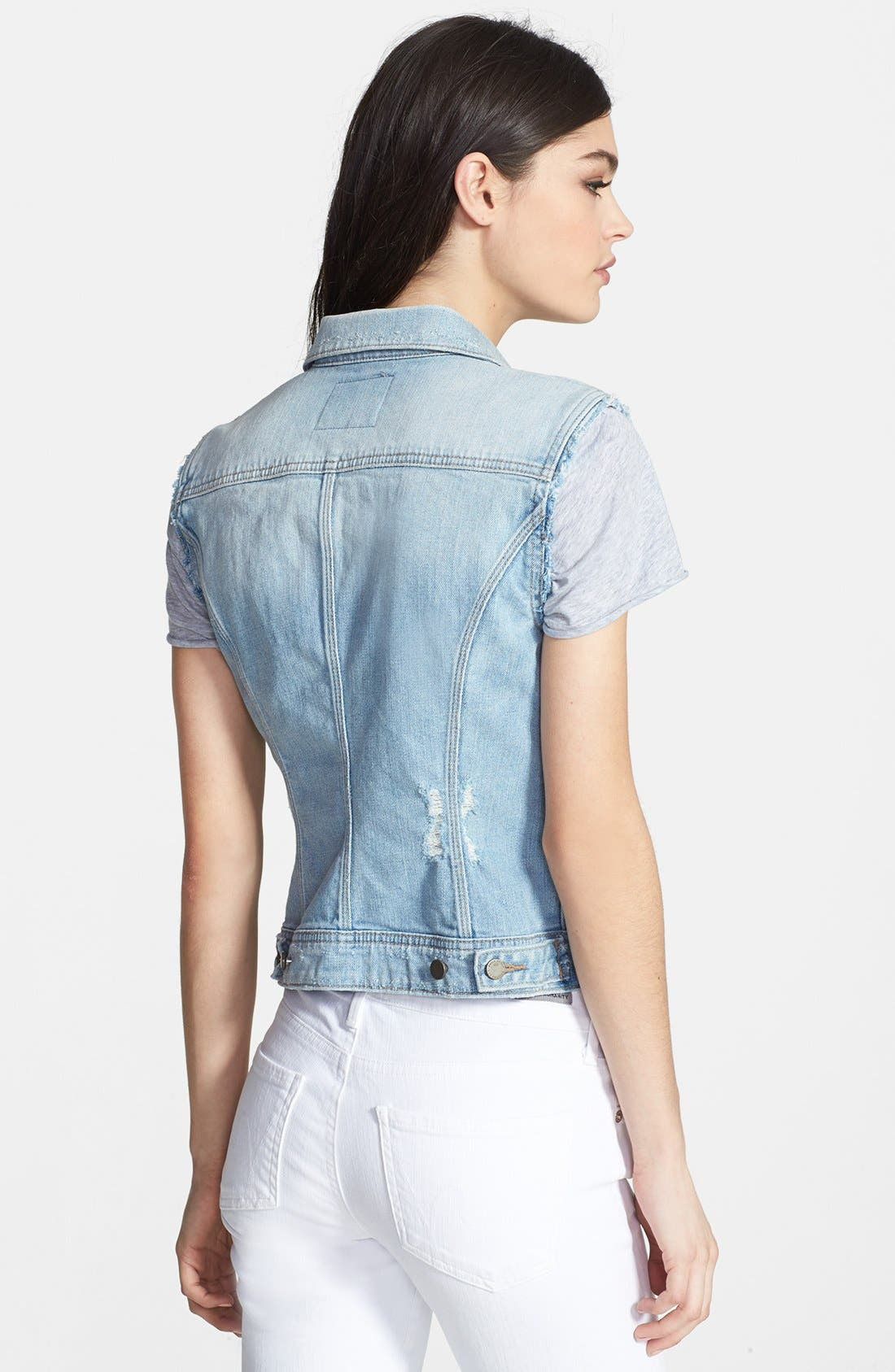 Denim Frayed Denim Vest,                             Alternate thumbnail 2, color,                             400