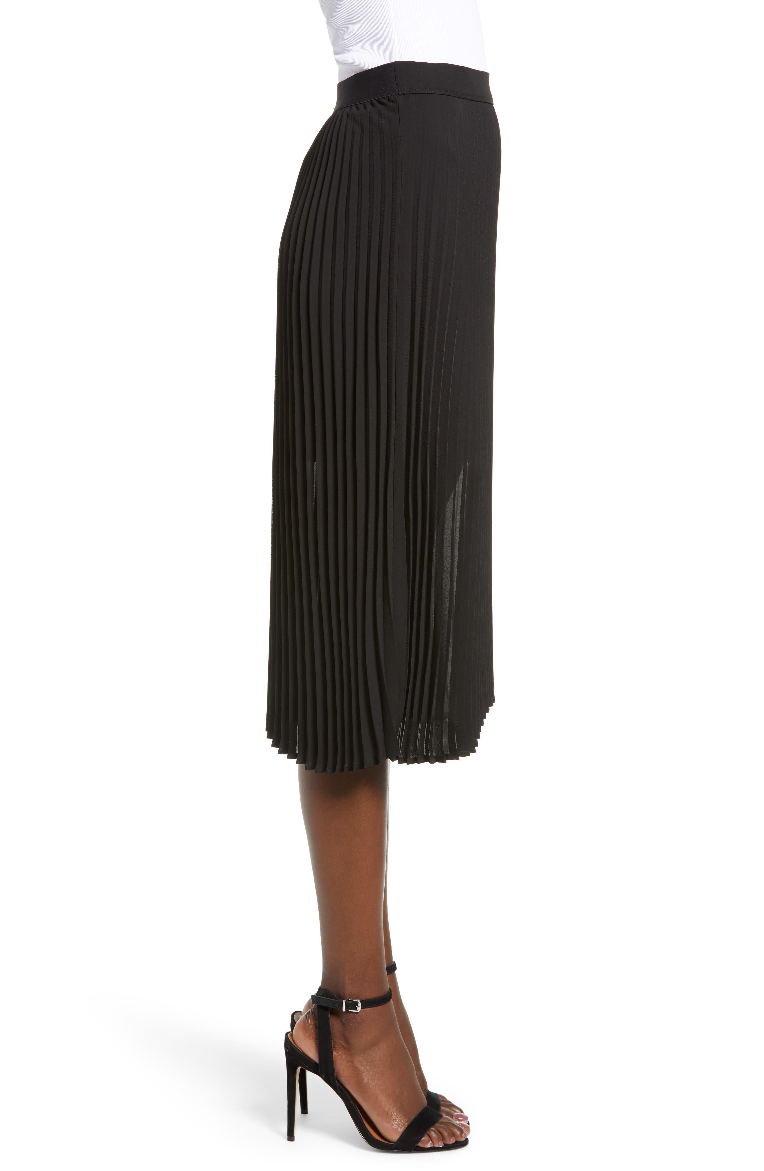 LOVE, FIRE,                             Pleated Georgette Midi Skirt,                             Alternate thumbnail 3, color,                             001
