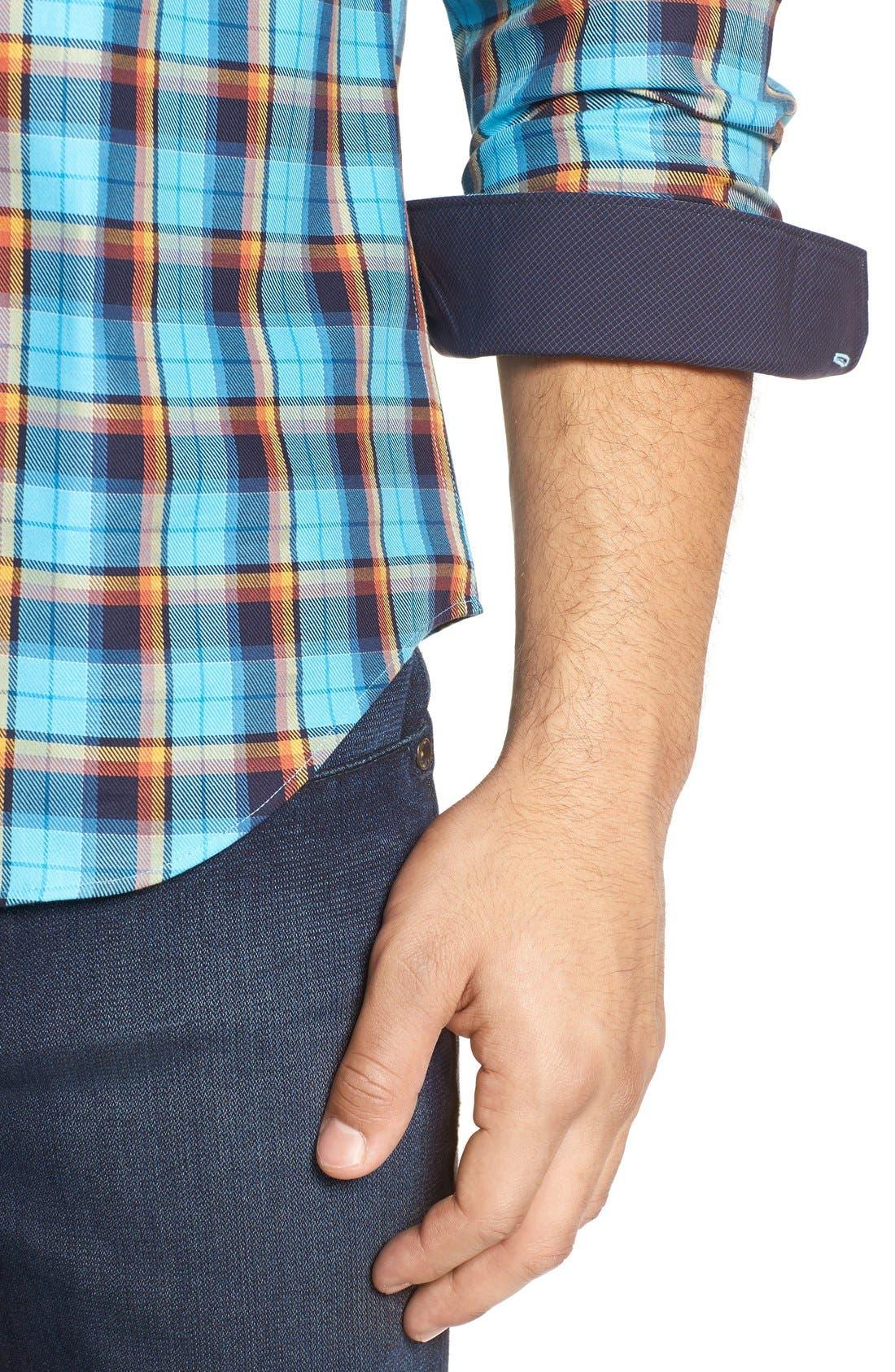Shaped Fit Plaid Sport Shirt,                             Alternate thumbnail 4, color,                             425