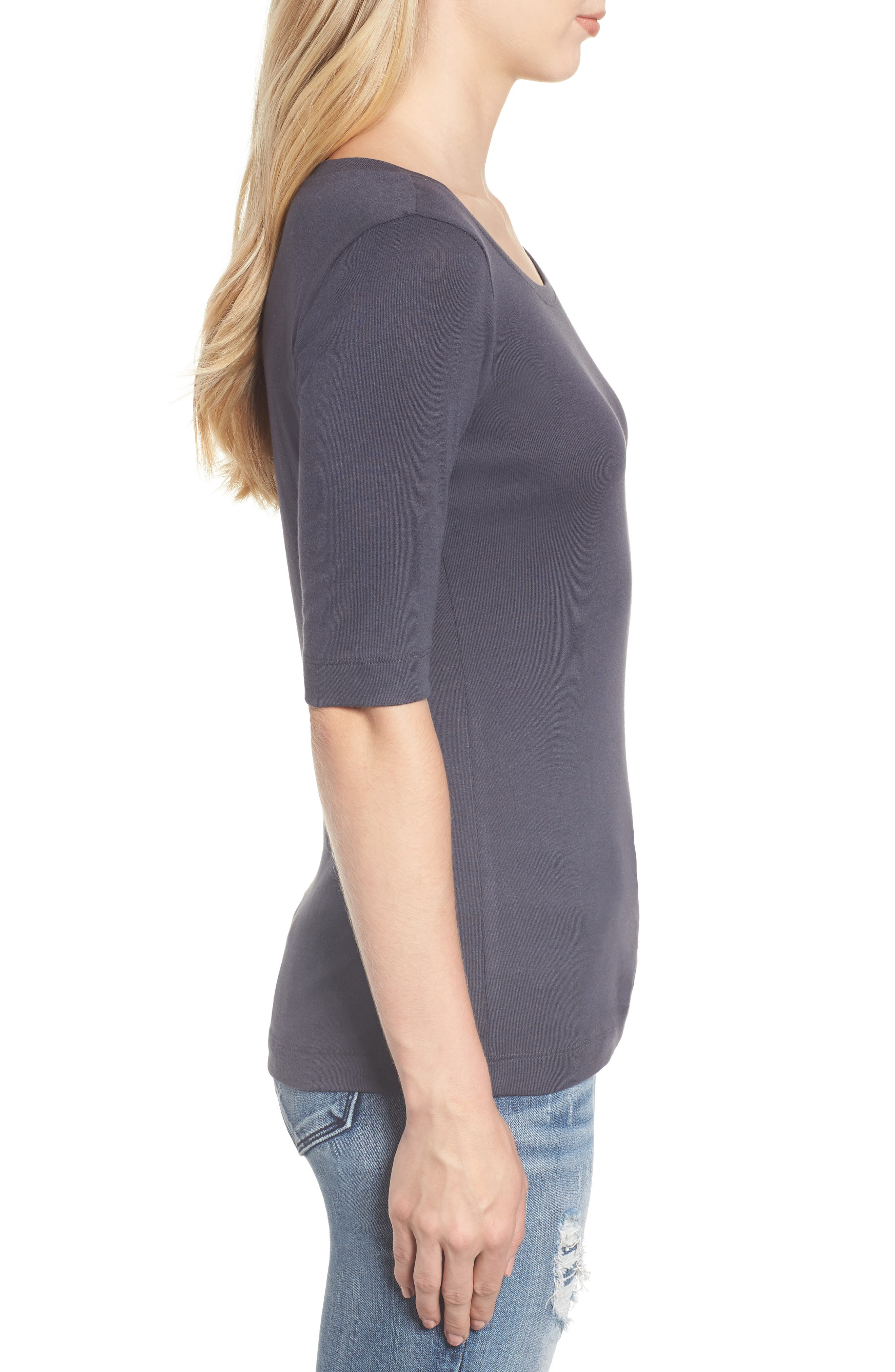 Ballet Neck Cotton & Modal Knit Elbow Sleeve Tee,                             Alternate thumbnail 3, color,                             GREY EBONY
