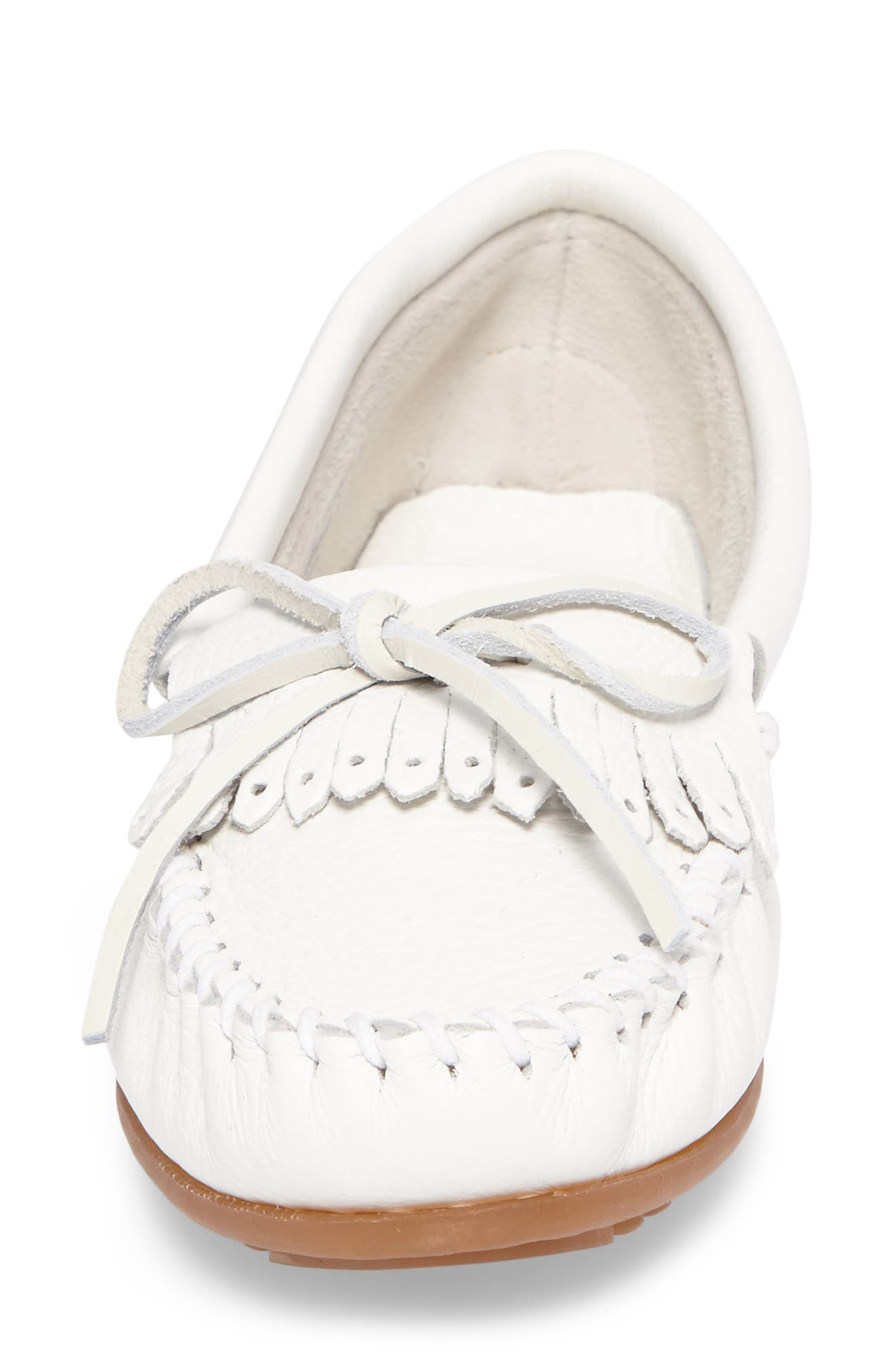 Kilty Moccasin,                             Alternate thumbnail 4, color,                             WHITE LEATHER