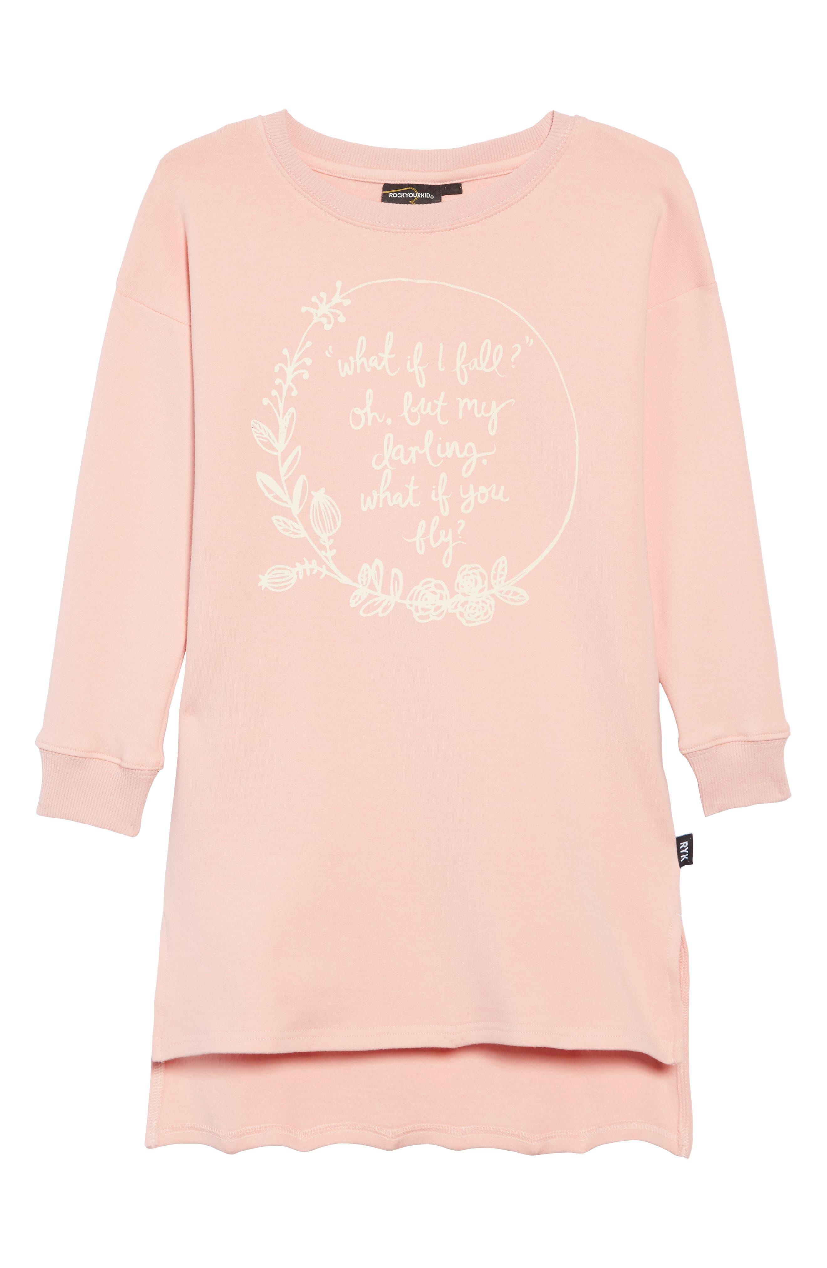 What If I Fall T-Shirt Dress,                             Main thumbnail 1, color,                             650