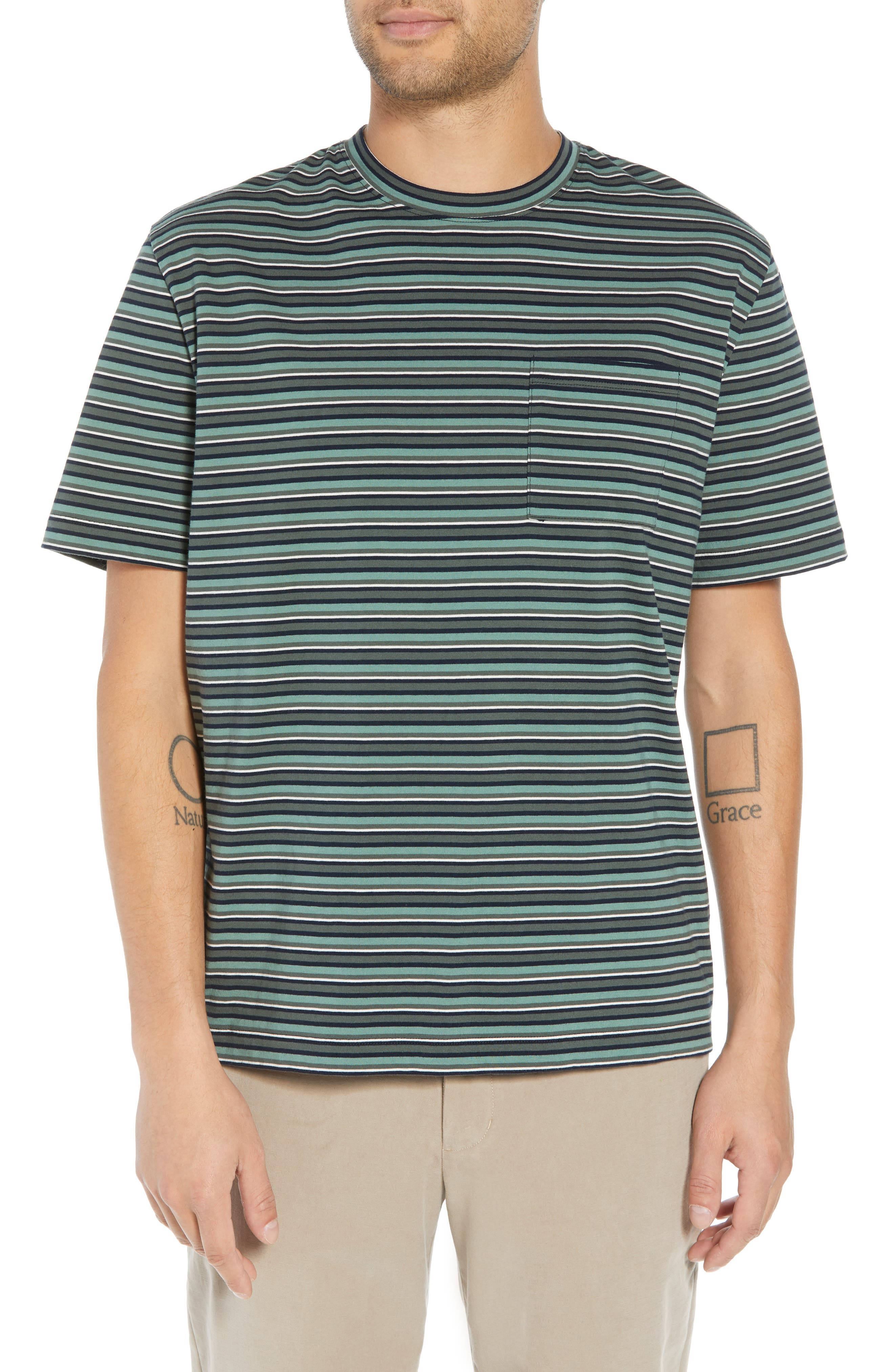 Regular Fit Multistripe Pocket T-Shirt,                             Main thumbnail 1, color,                             URBAN GREEN/ SPEARMINT
