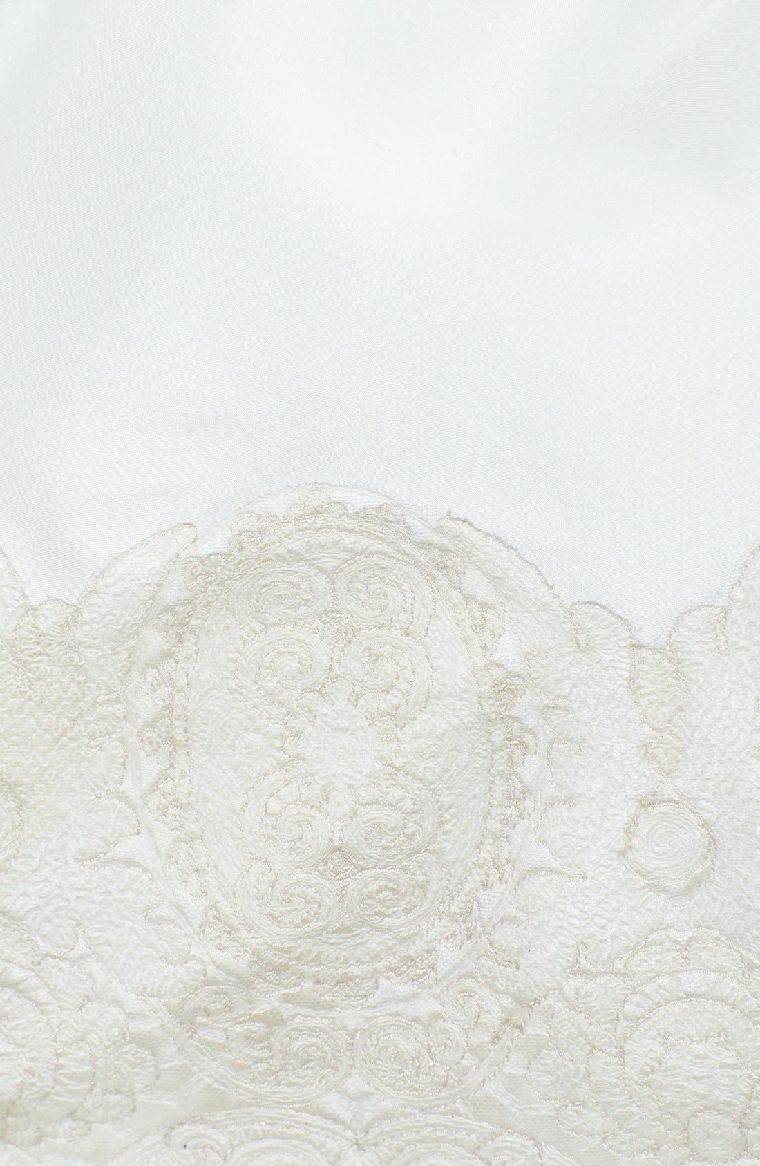 Savannah Removable Illusion Halter Lace Trim Silk Shantung Gown,                             Alternate thumbnail 3, color,                             900