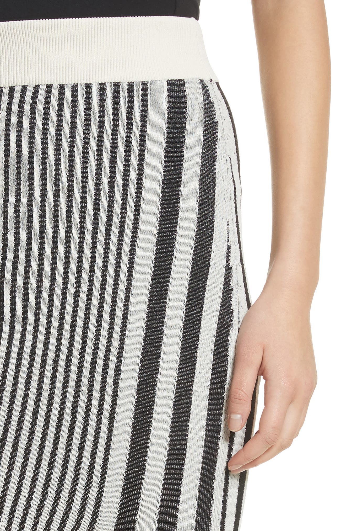 Tassel Trim Stripe Pencil Skirt,                             Alternate thumbnail 4, color,                             001