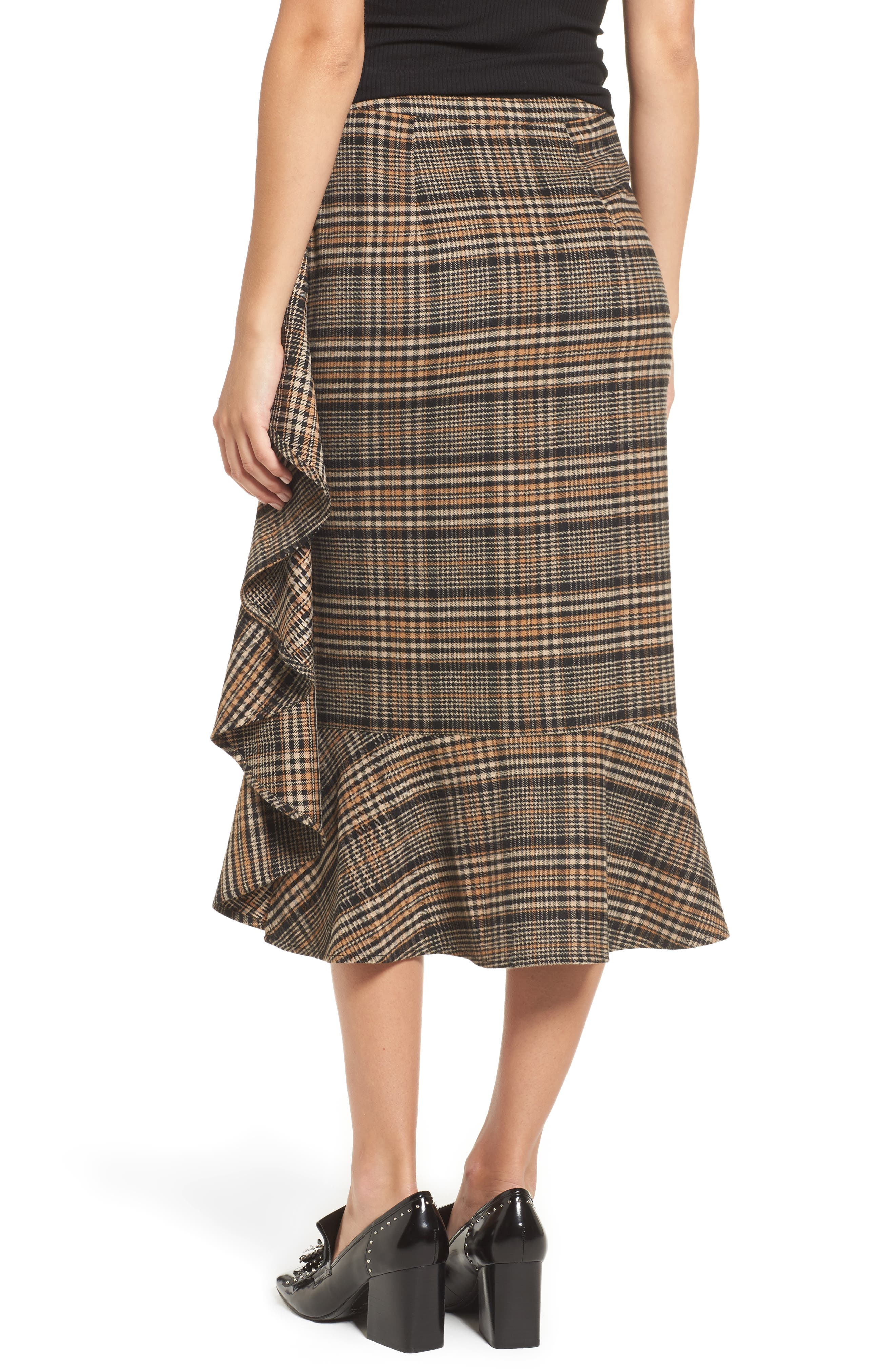 Ruffle Plaid Midi Skirt,                             Alternate thumbnail 2, color,