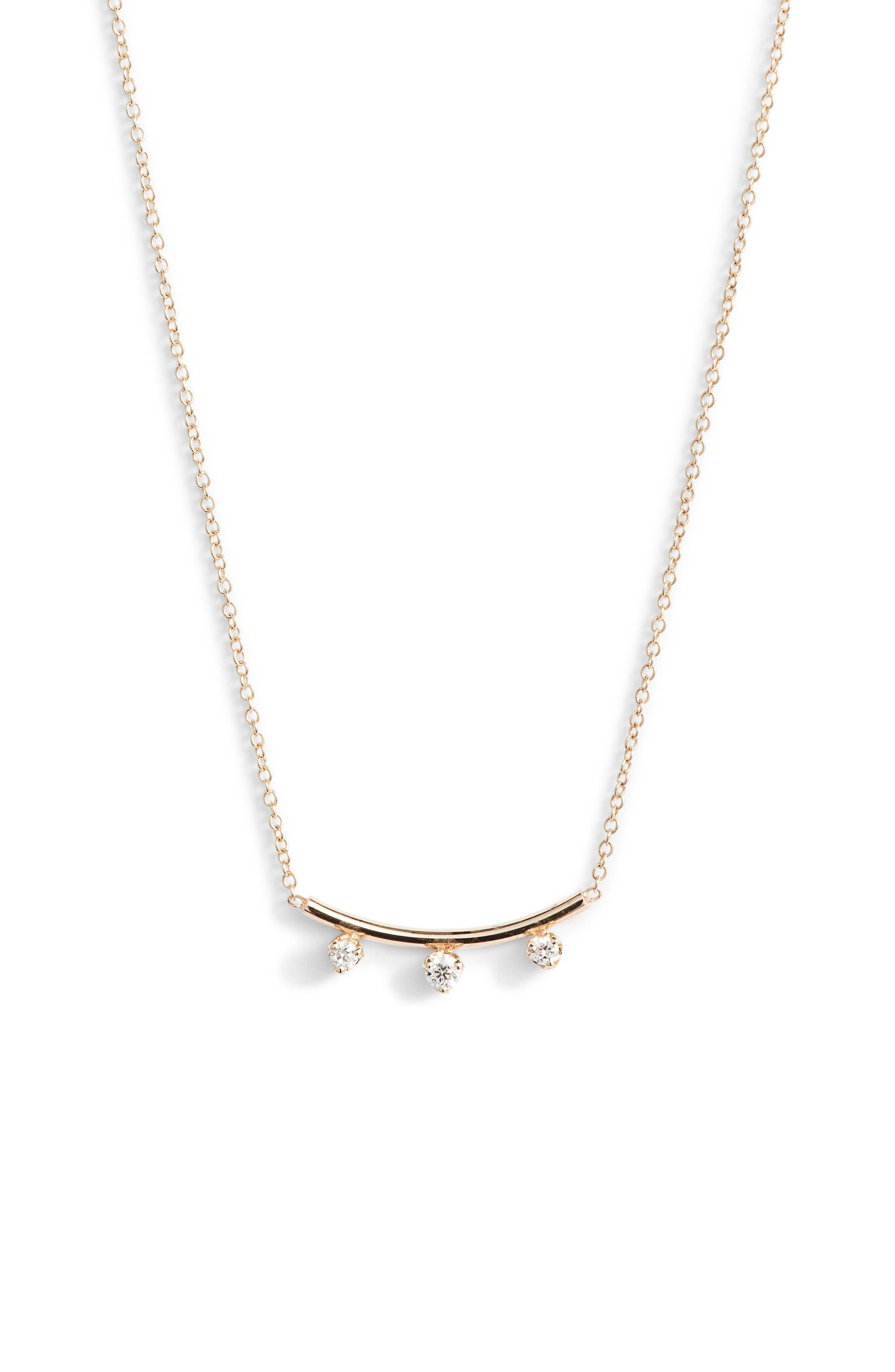 Zoe Chicco Three-Diamond Curved Bar Necklace