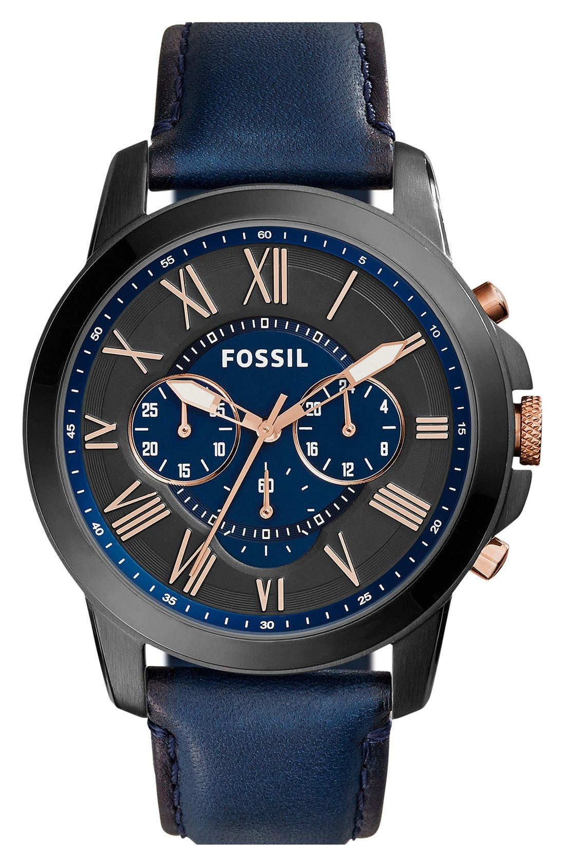 'Grant' Round Chronograph Leather Strap Watch, 44mm,                             Main thumbnail 32, color,