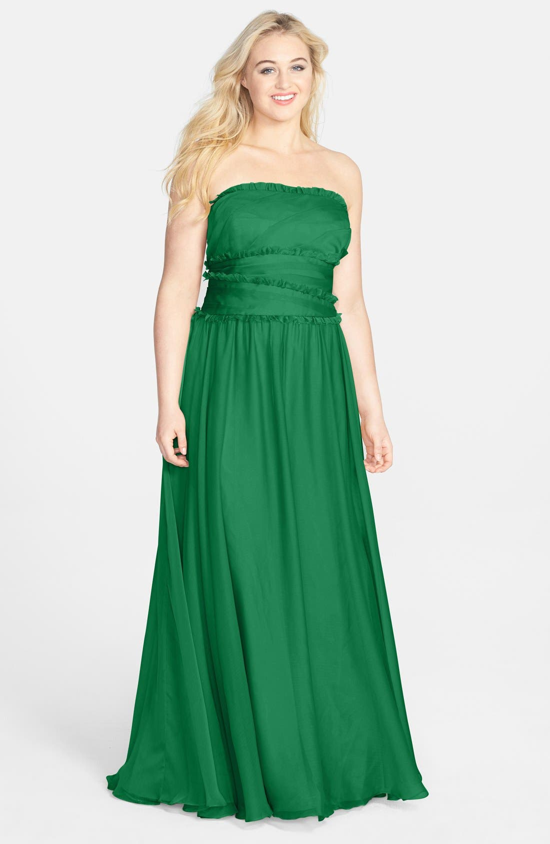ML Monique Lhuillier Bridesmaids Strapless Chiffon Gown,                             Alternate thumbnail 24, color,