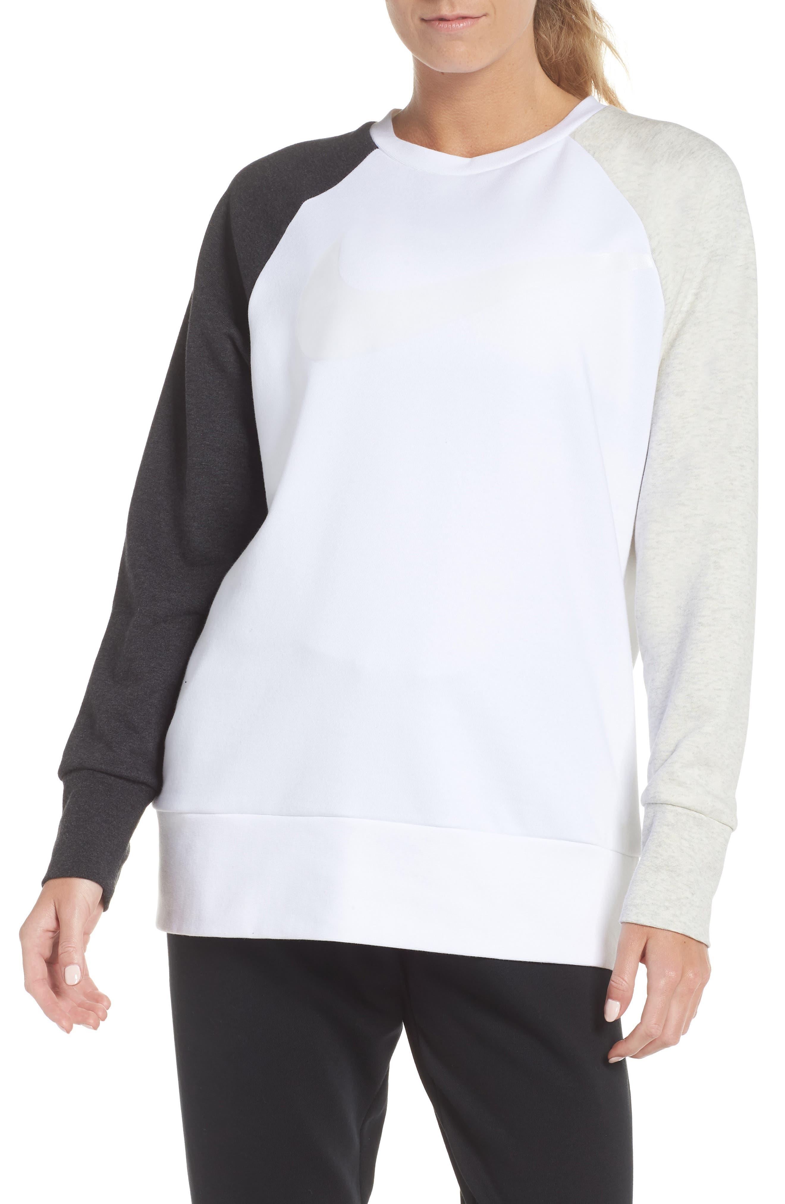 Dry Swoosh Sweatshirt,                             Main thumbnail 1, color,                             WHITE/ BLACK HEATHER/ WHITE