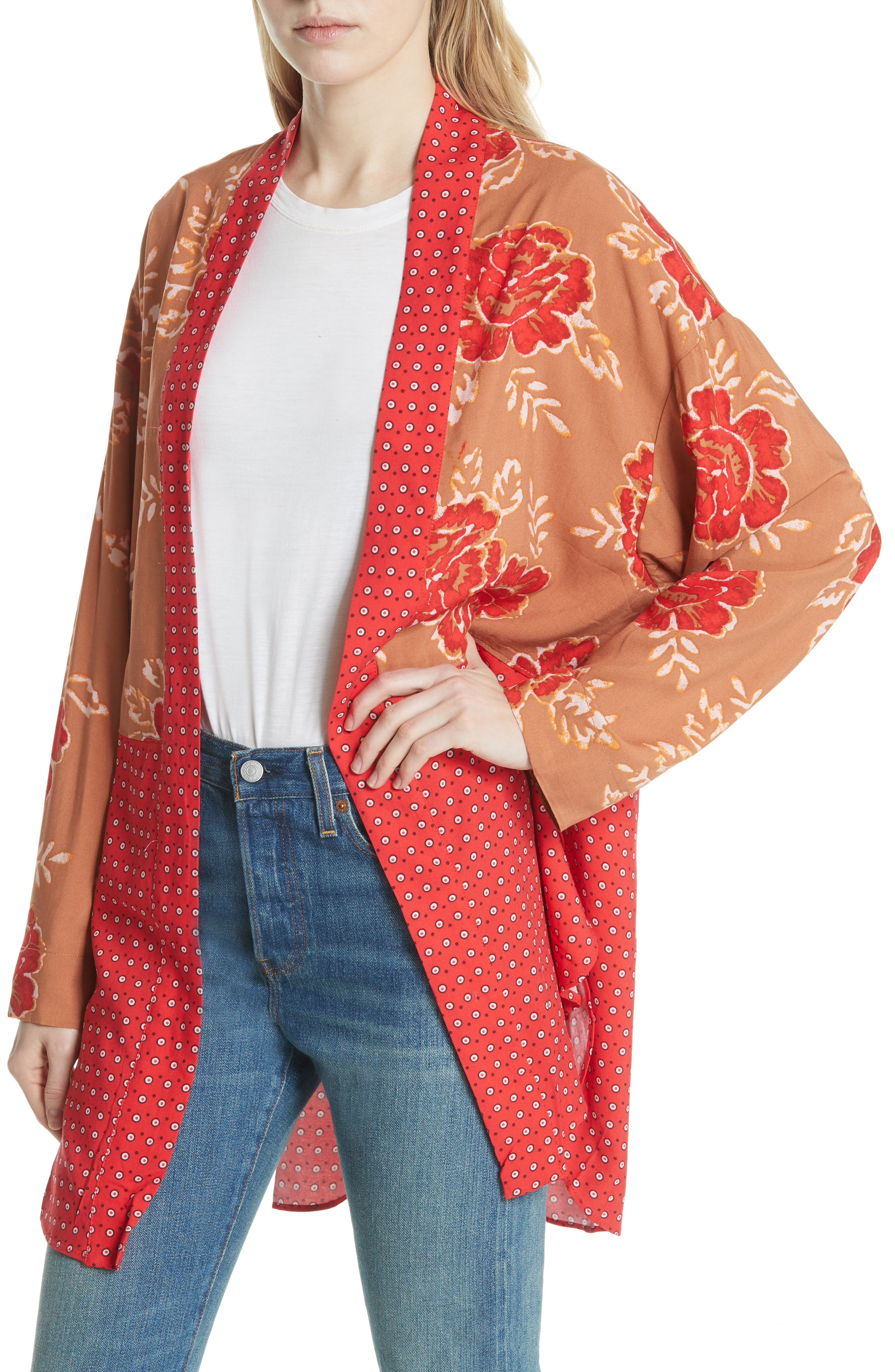 Forget Me Knot Tie Front Kimono,                             Alternate thumbnail 7, color,