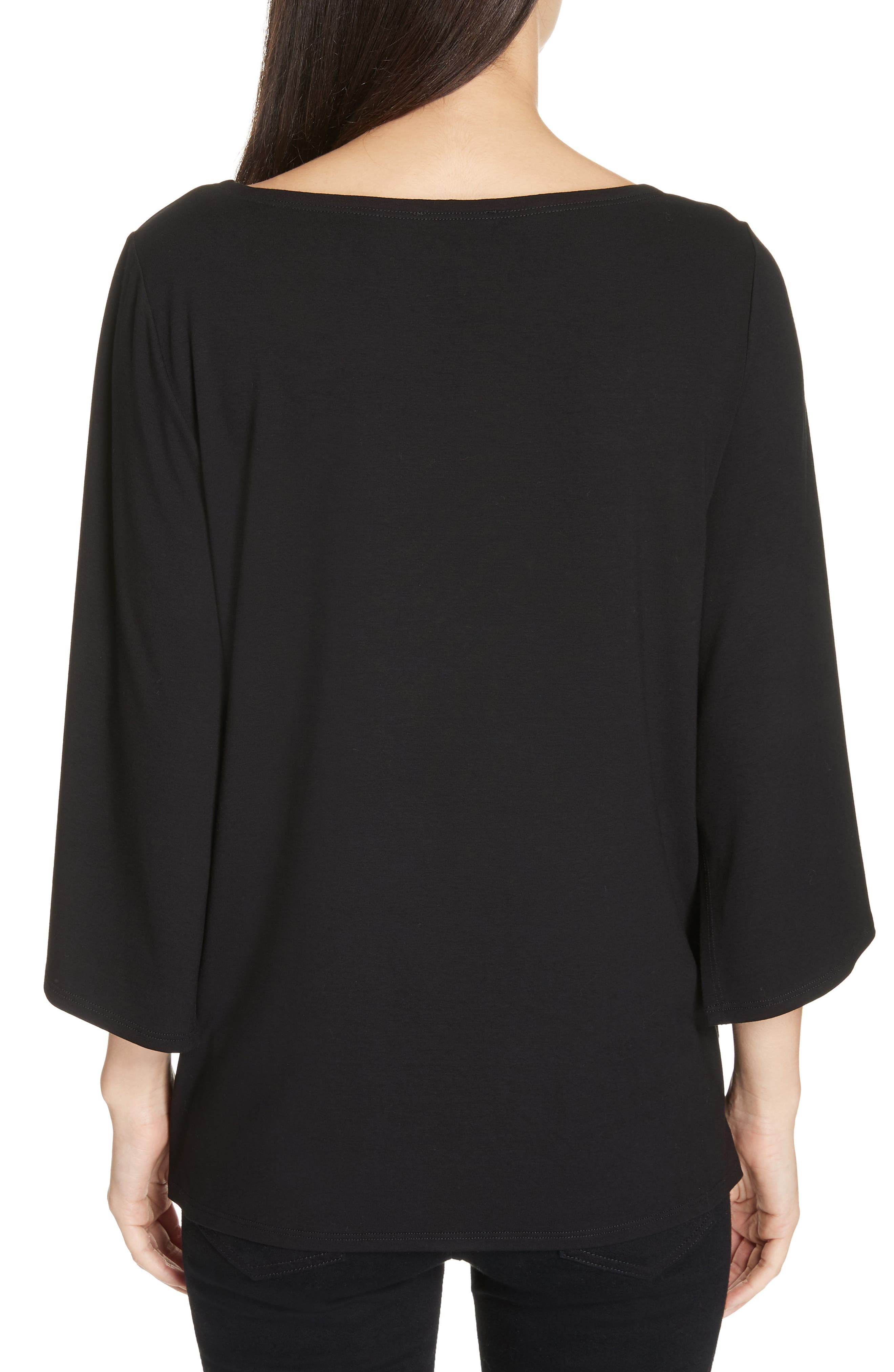 Bell Sleeve Jersey Top,                             Alternate thumbnail 2, color,                             BLACK