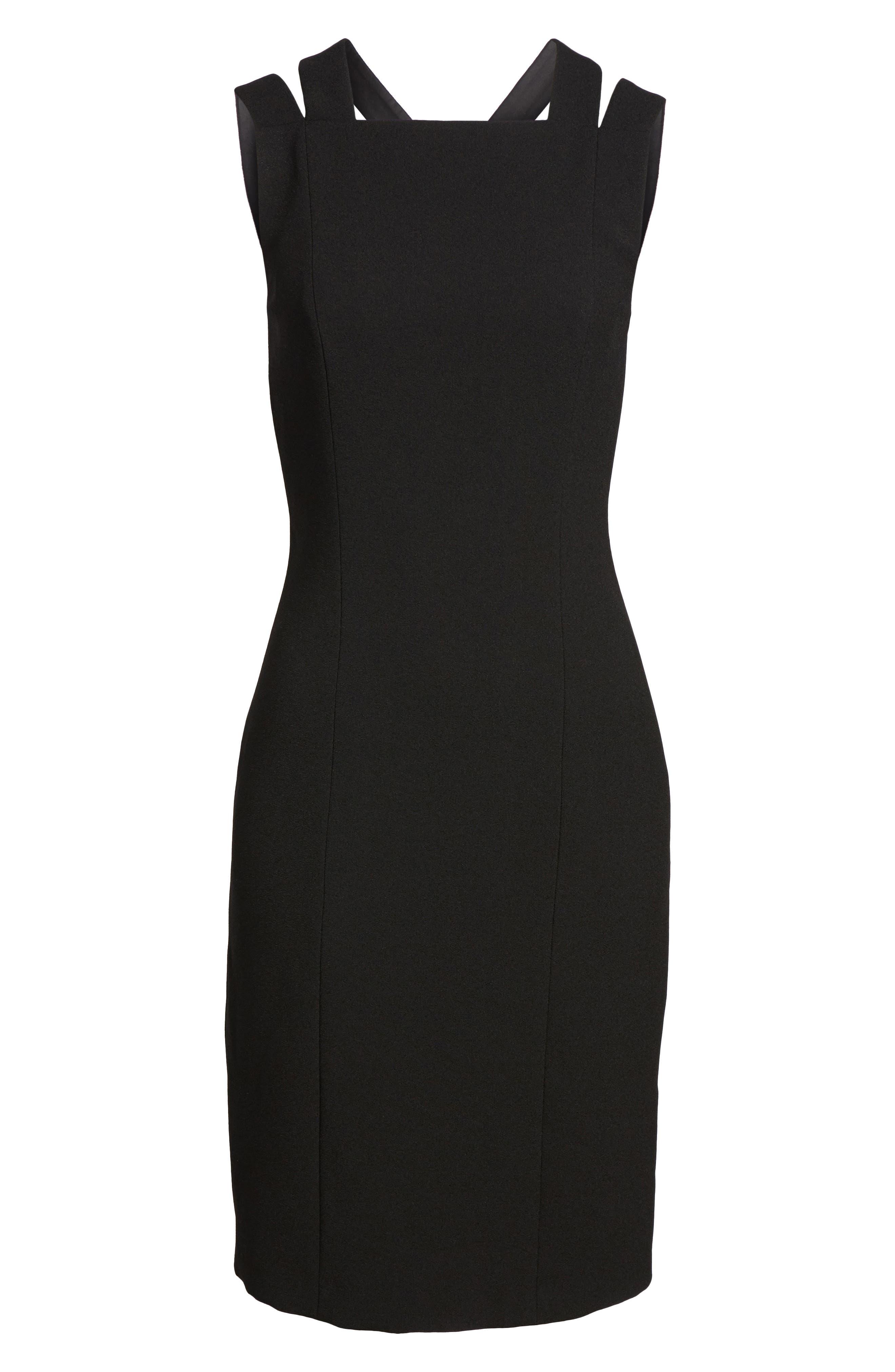 Daphima Compact Crepe Sheath Dress,                             Alternate thumbnail 6, color,