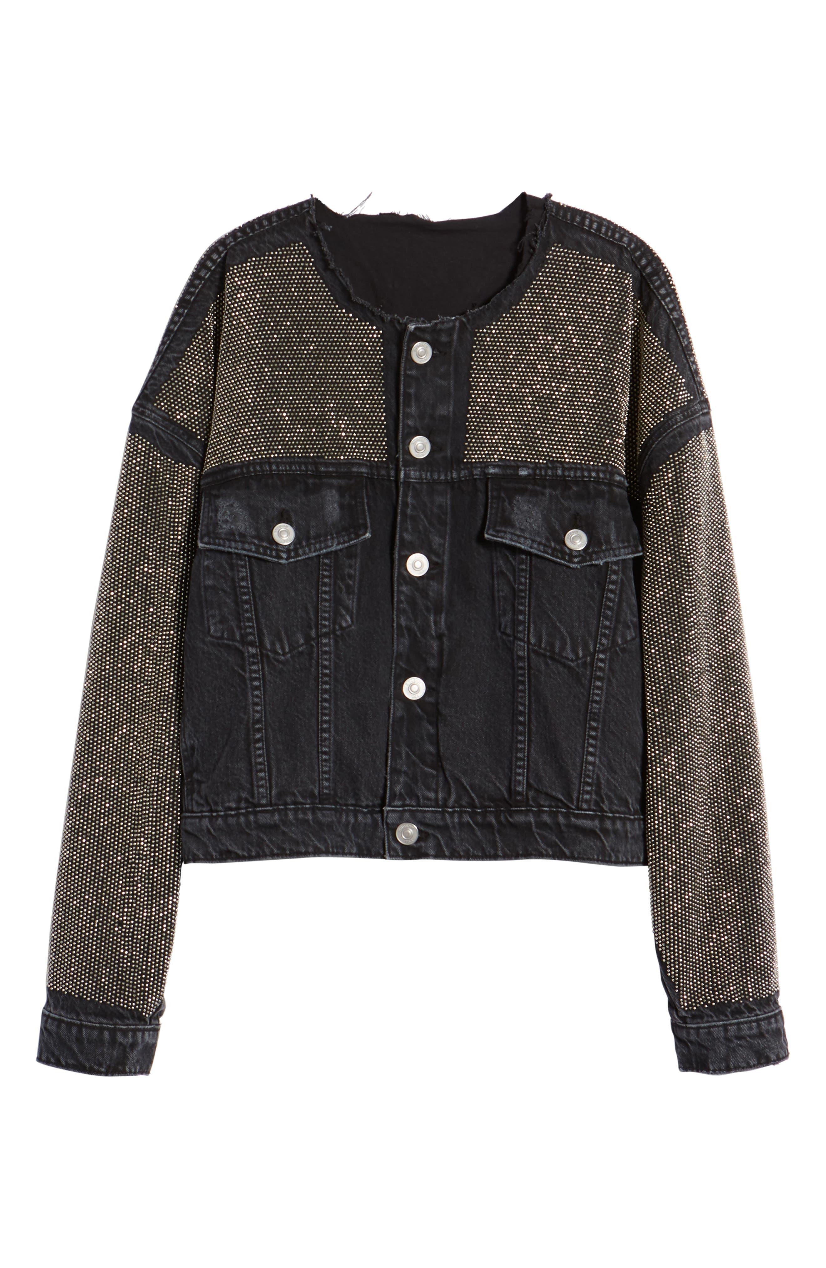 Rei Studded Crop Denim Jacket,                             Alternate thumbnail 6, color,                             001