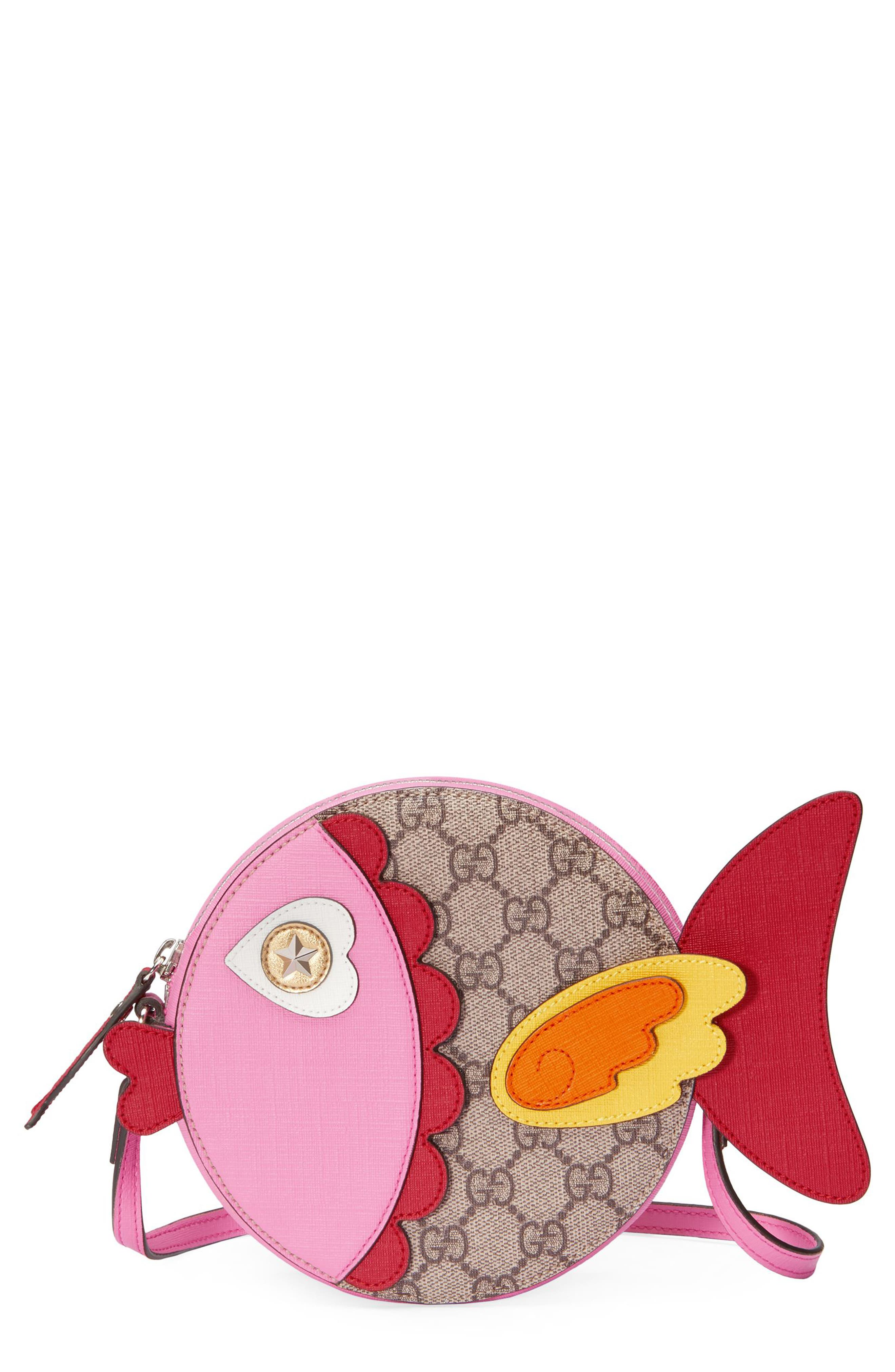 Gucci GG Supreme Fish Canvas Shoulder Bag,                             Main thumbnail 1, color,                             204