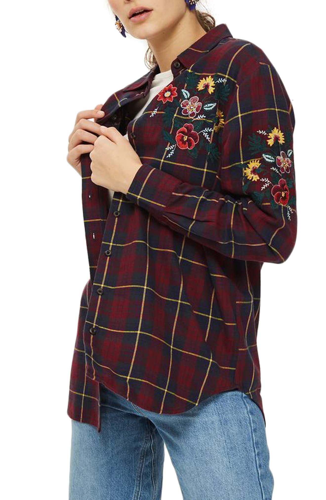 Floral Embroidered Check Shirt,                             Alternate thumbnail 3, color,                             601