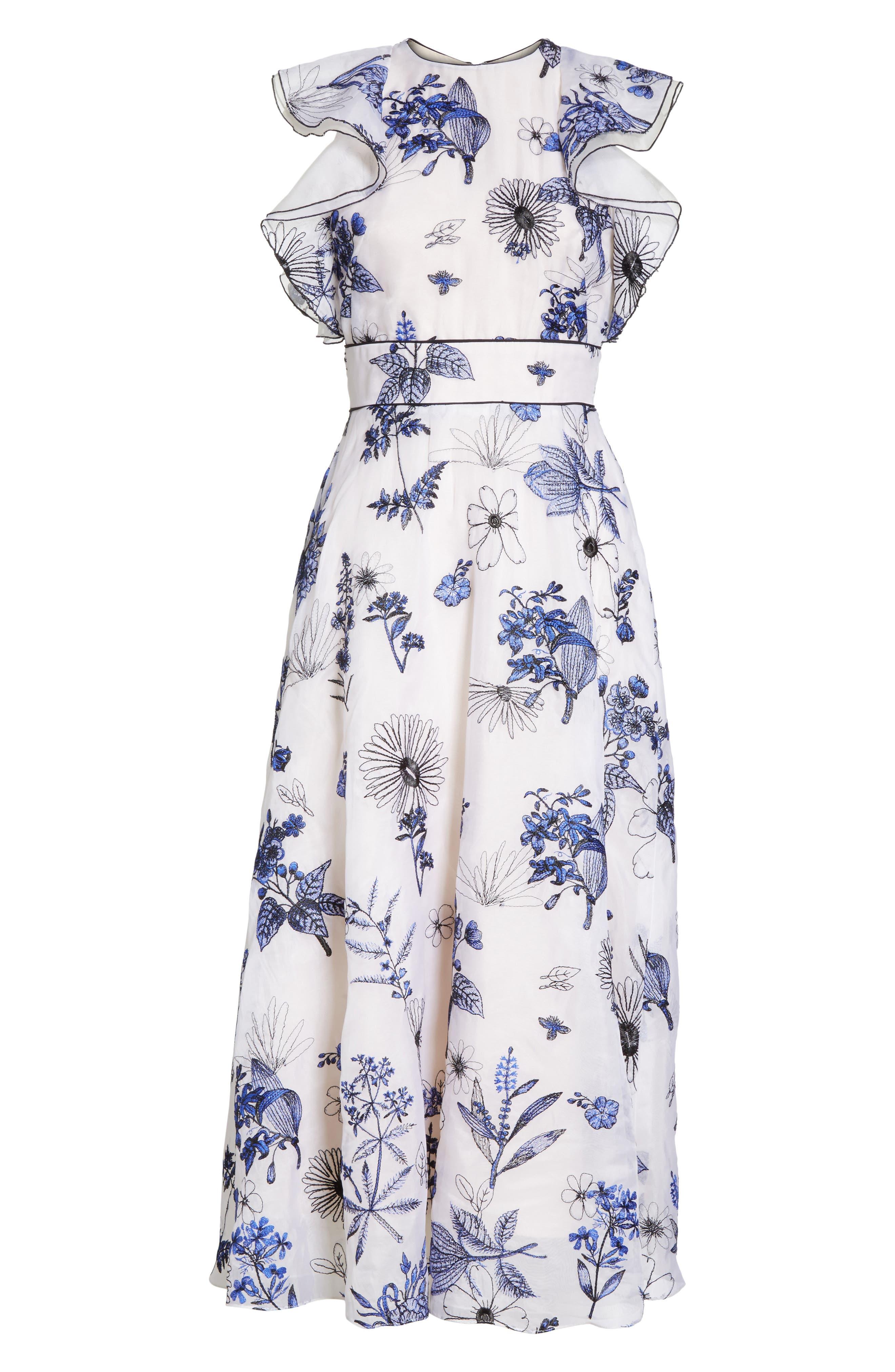 Embroidered Silk Ruffle Midi Dress,                             Alternate thumbnail 6, color,                             400