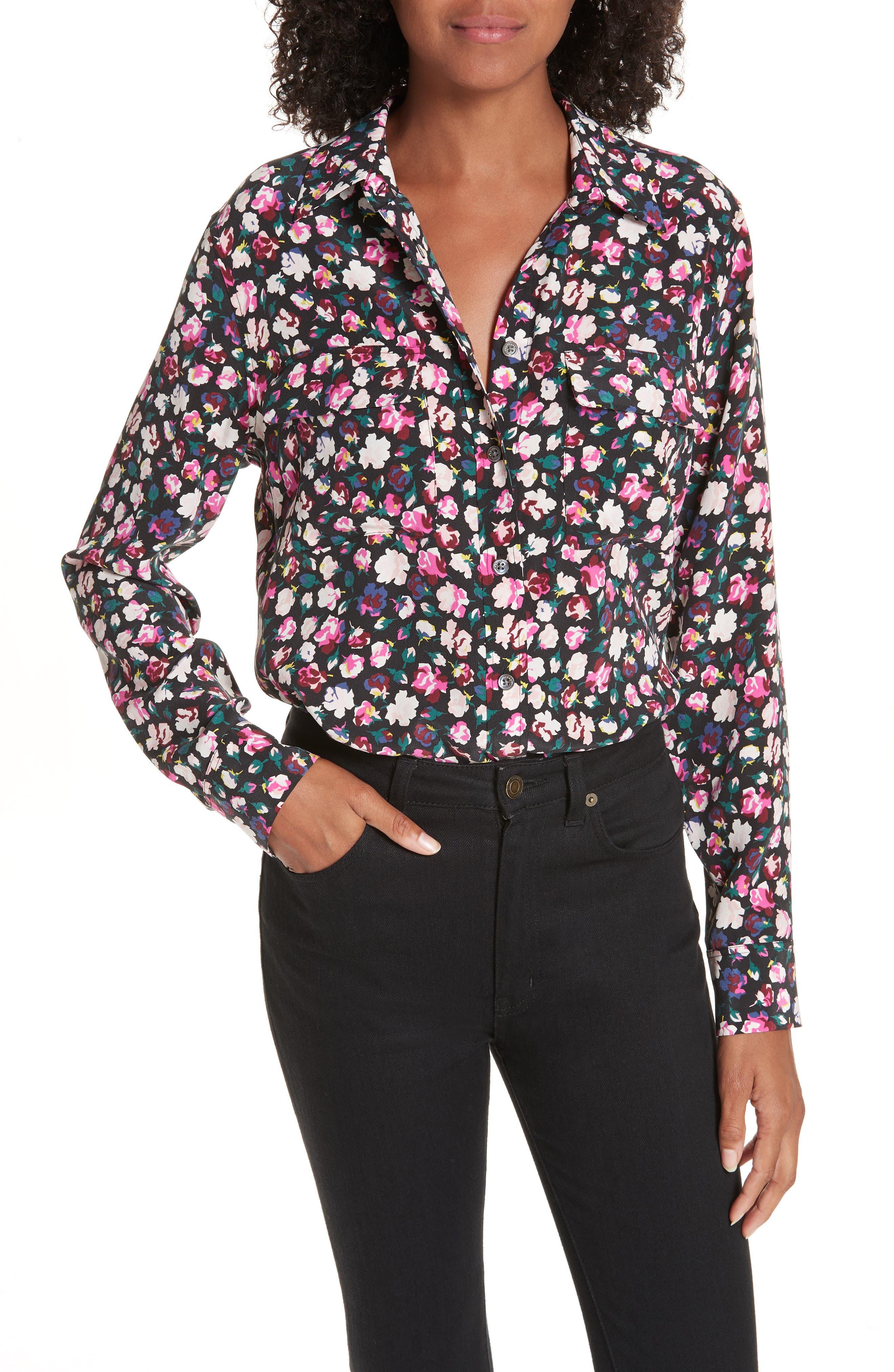 Slim Signature Floral Blouse, Main, color, TRUE BLACK MULTI