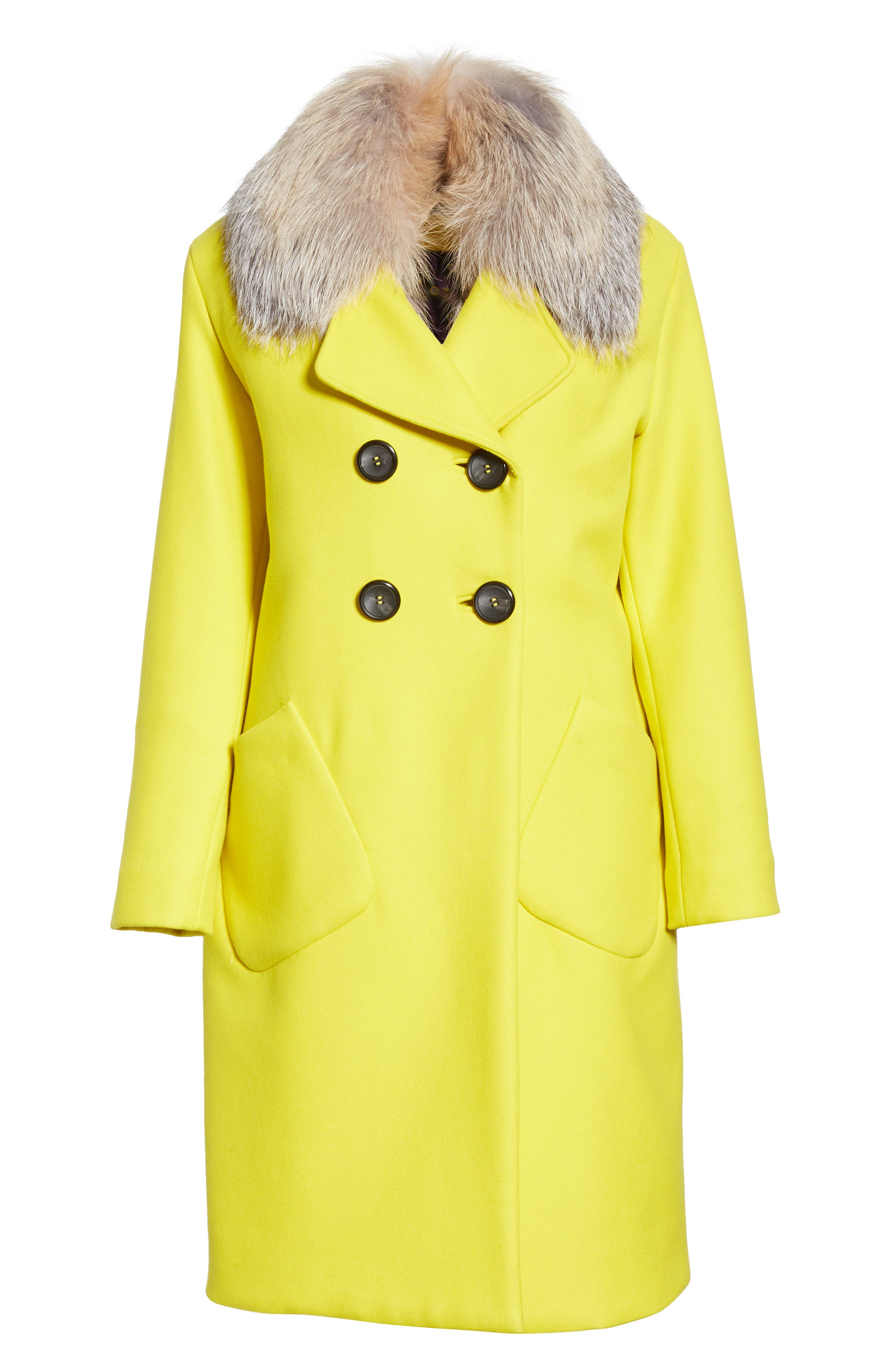 Double Breasted Brushed Wool Coat with Genuine Fox Fur Collar,                             Alternate thumbnail 6, color,                             700