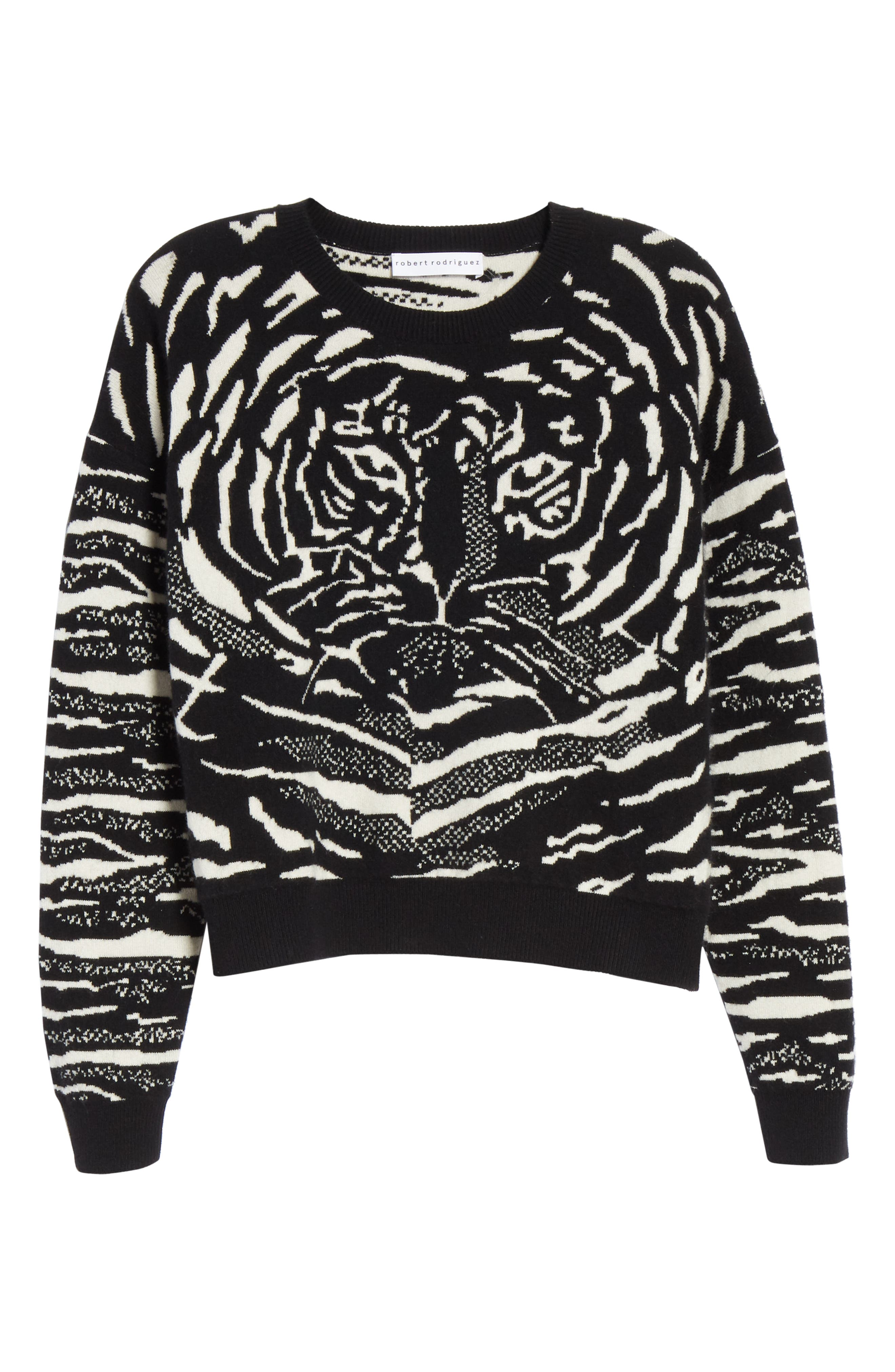 Wool & Cashmere Sweater,                             Alternate thumbnail 6, color,                             BLACK/ WHITE