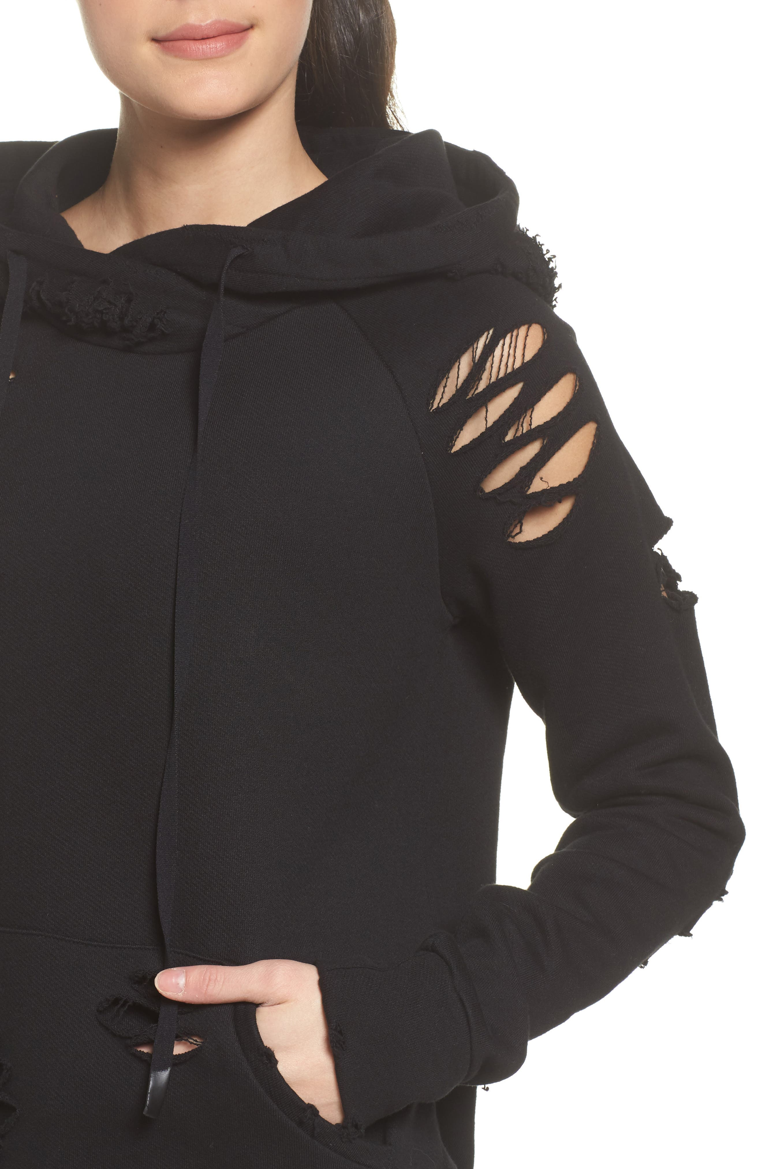 Ripped Hoodie,                             Alternate thumbnail 4, color,                             BLACK/ DISTRESSED HOLES