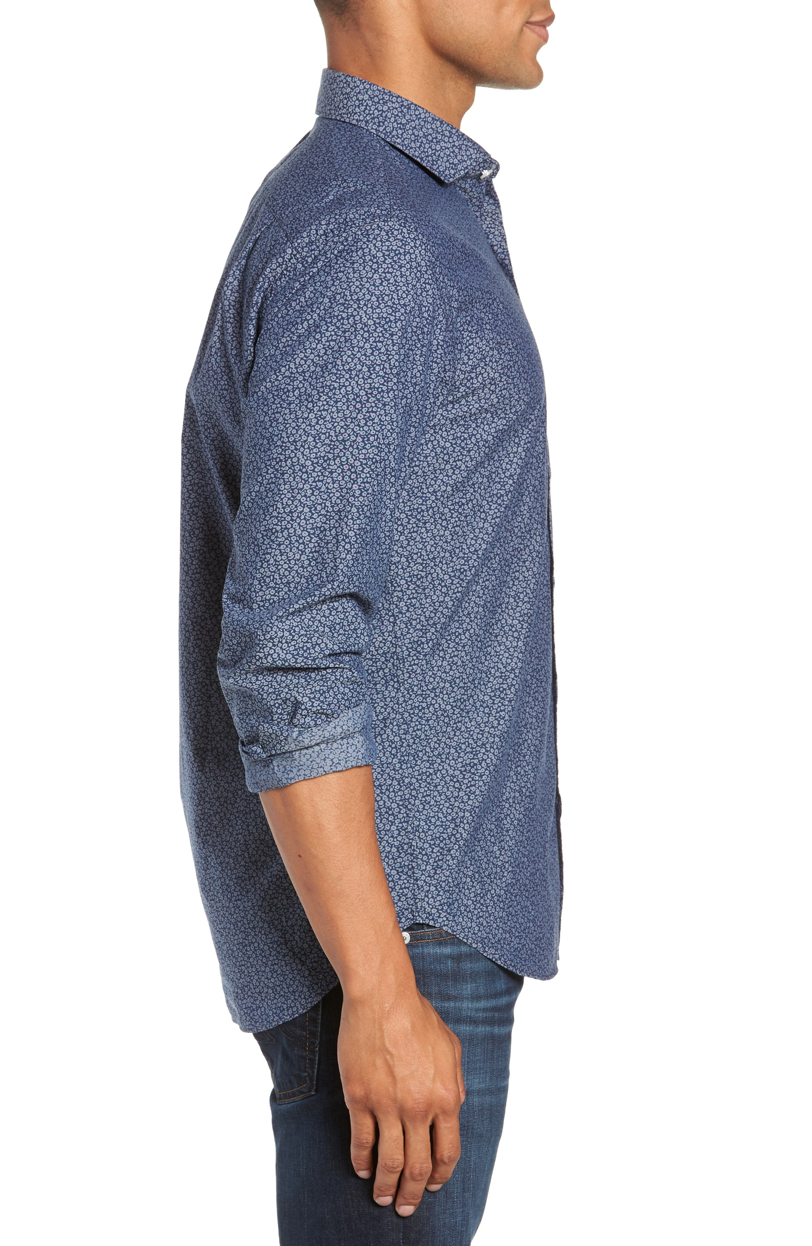 Unbutton Down Slim Fit Sport Shirt,                             Alternate thumbnail 4, color,                             CIELO FLORAL - INDIO