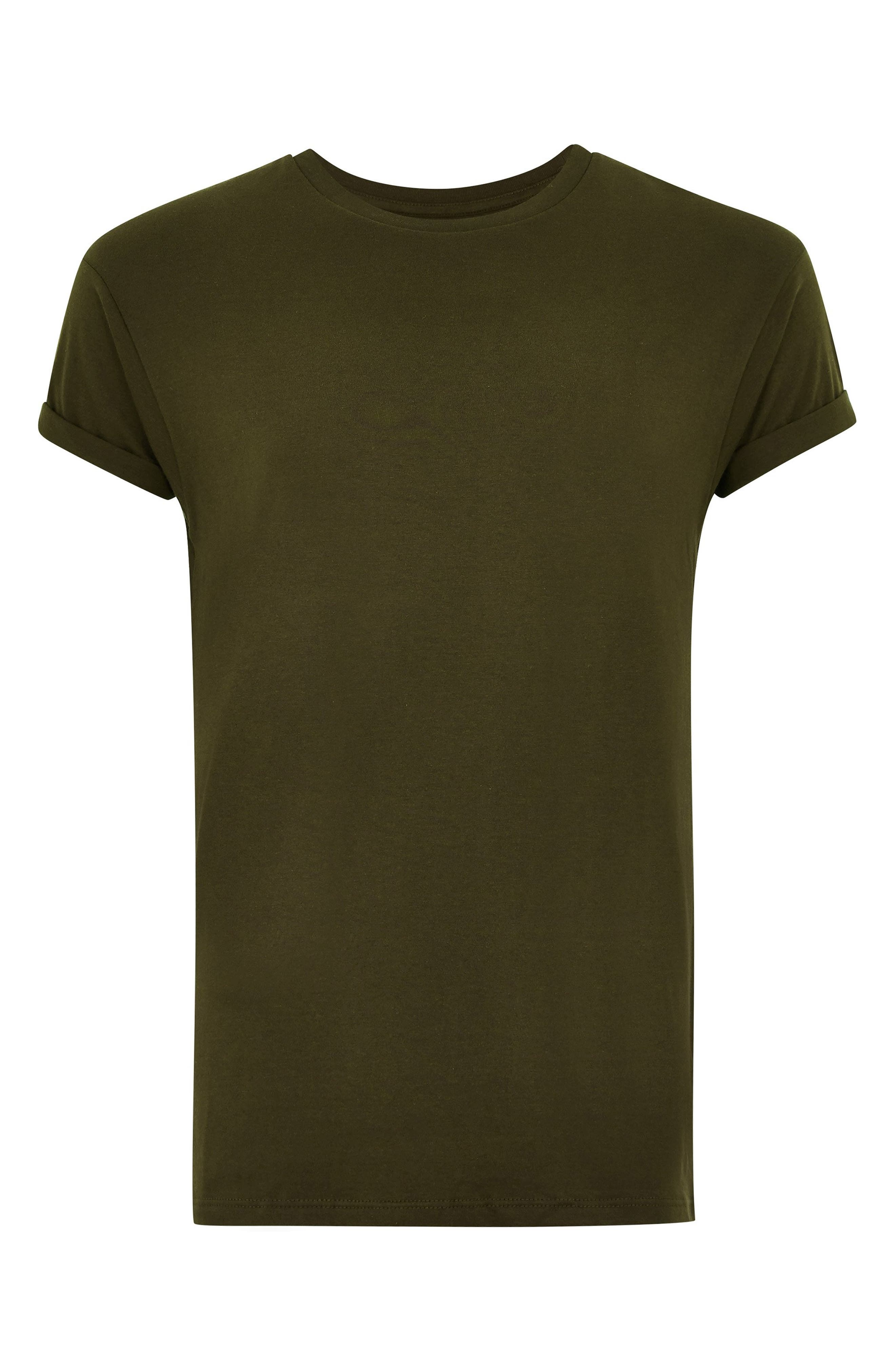 Muscle Fit Roller T-Shirt,                             Alternate thumbnail 5, color,                             OLIVE
