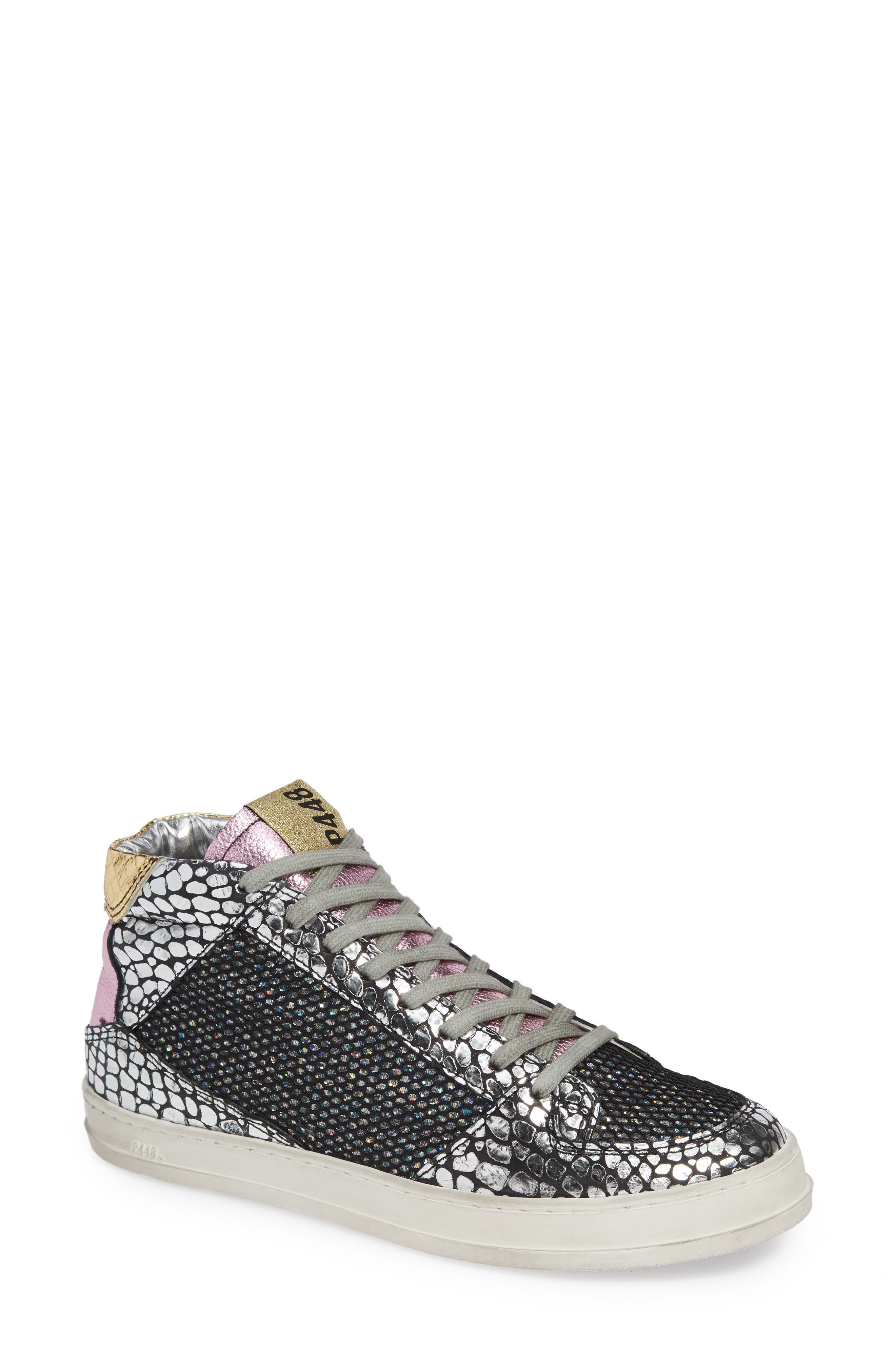 P448 Queens Mid-Top Sneakers In Croco Leather & Glitter Mesh in Black/ Gold Gloss