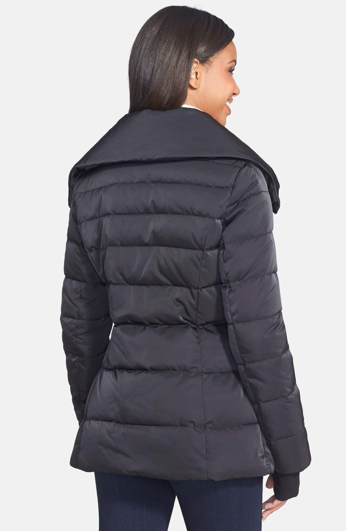 VERA WANG,                             Pillow Collar Asymmetrical Down Coat,                             Alternate thumbnail 2, color,                             001