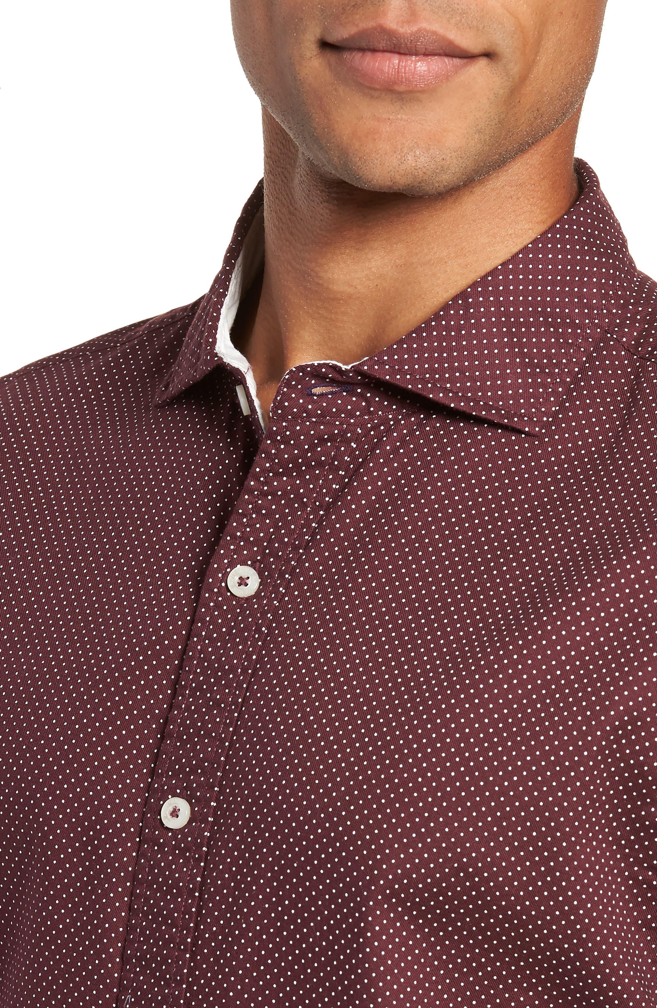 Earnest Regular Fit Dotted Sport Shirt,                             Alternate thumbnail 2, color,                             BURGUNDY