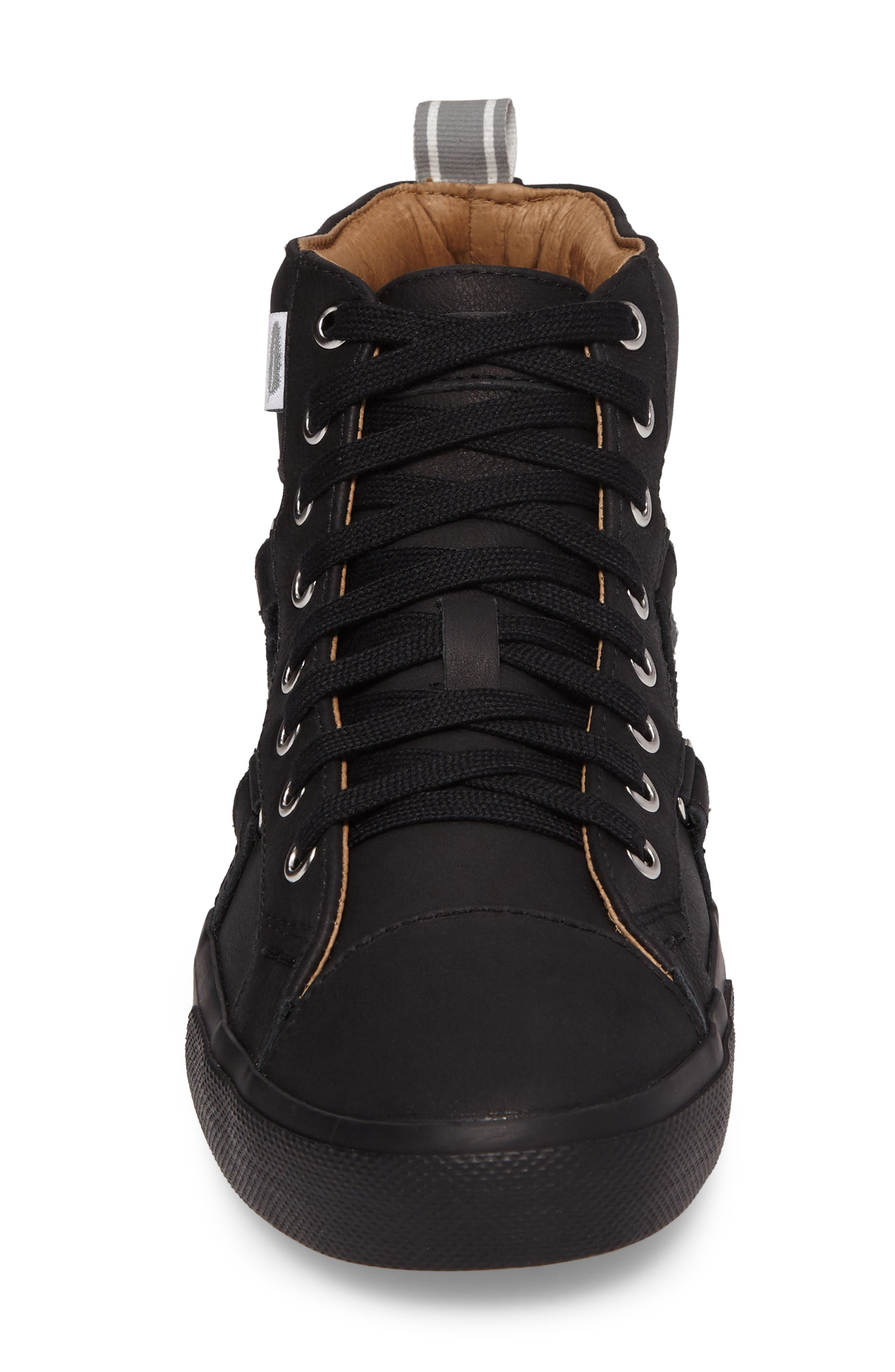 Signature High Top Sneaker,                             Alternate thumbnail 4, color,                             NERO LEATHER