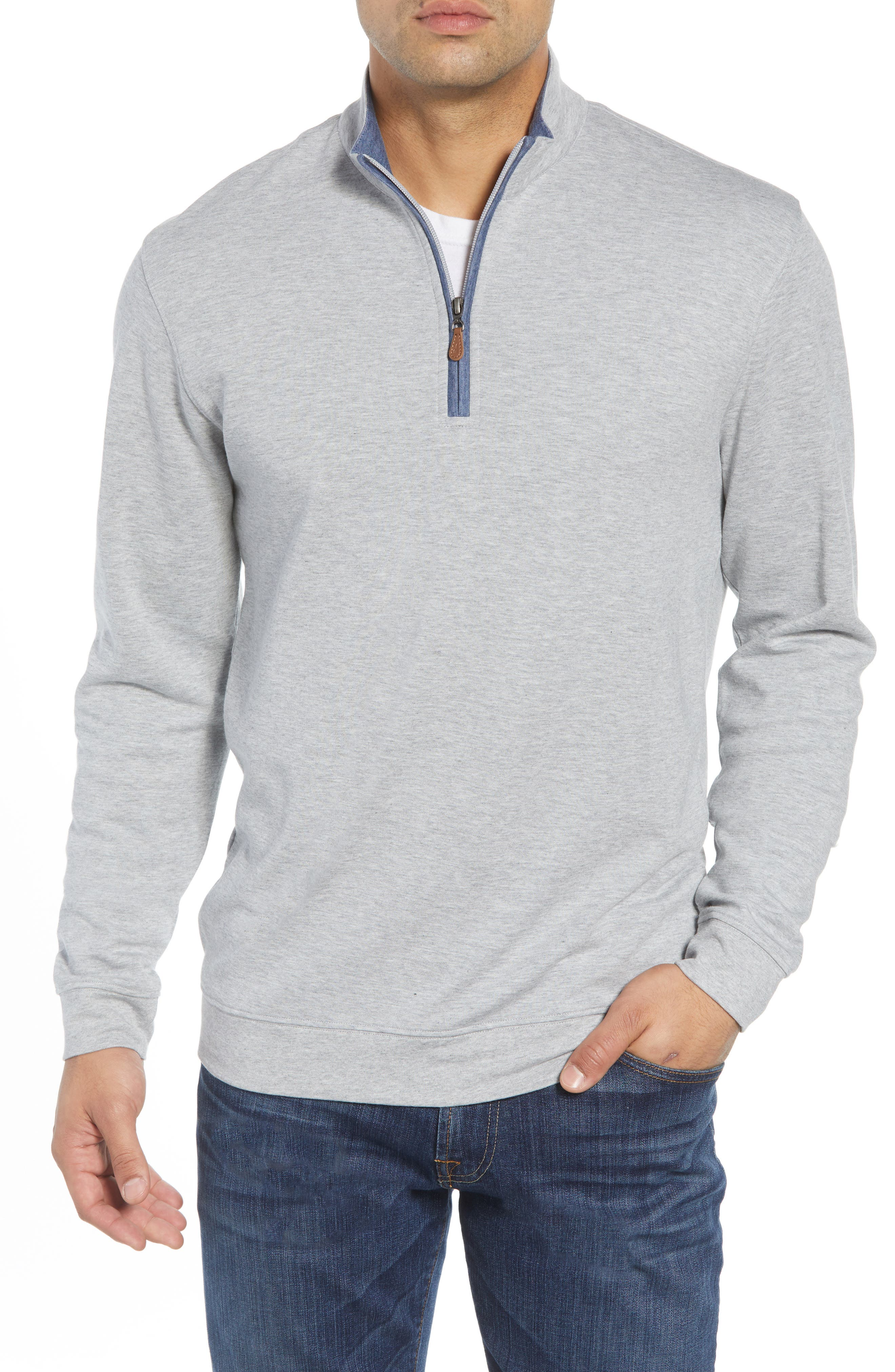 JOHNNIE-O Sully Quarter Zip Pullover in Light Grey