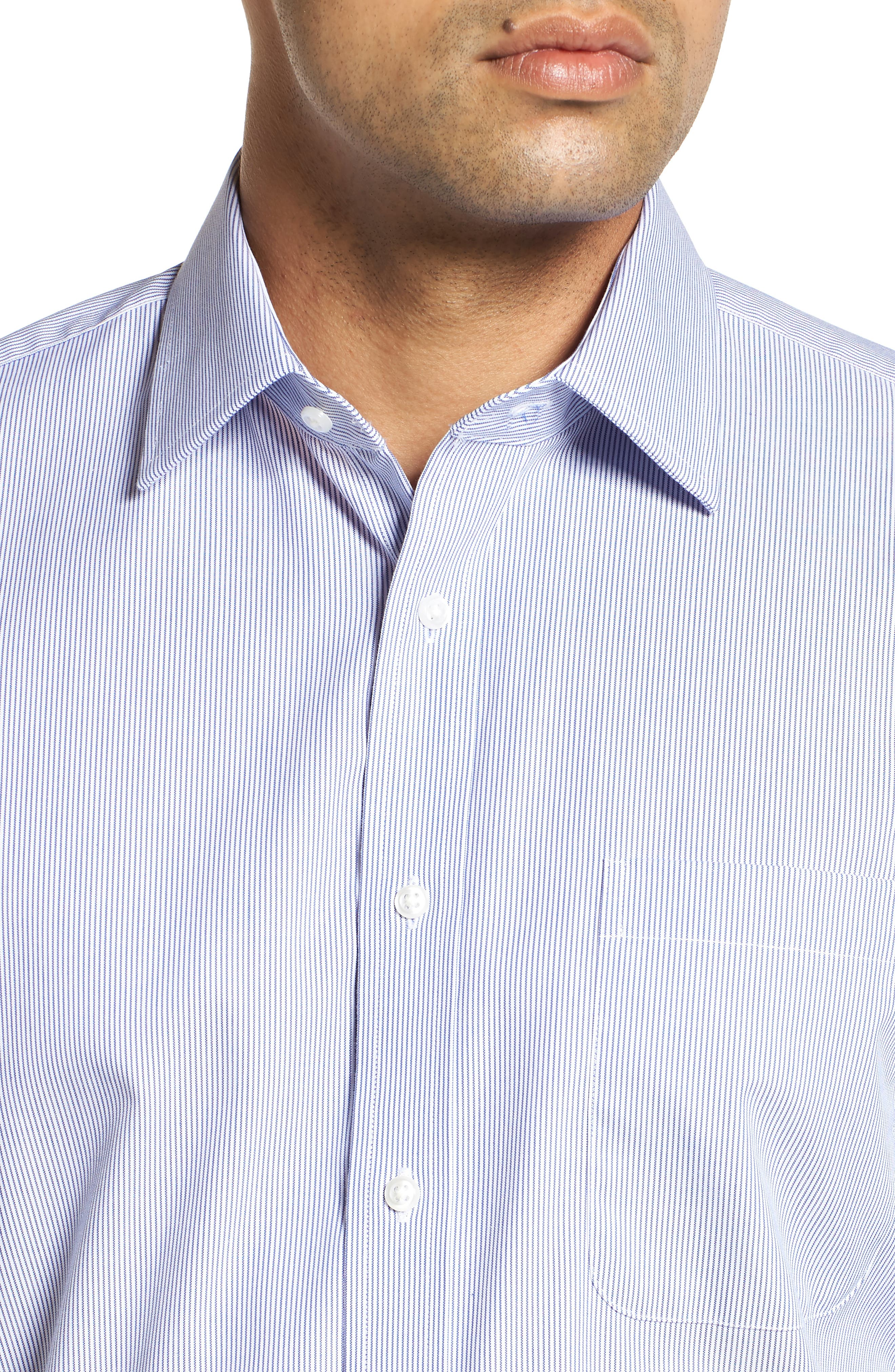 Traditional Fit Non-Iron Stripe Dress Shirt,                             Alternate thumbnail 2, color,                             NAVY PATRIOT