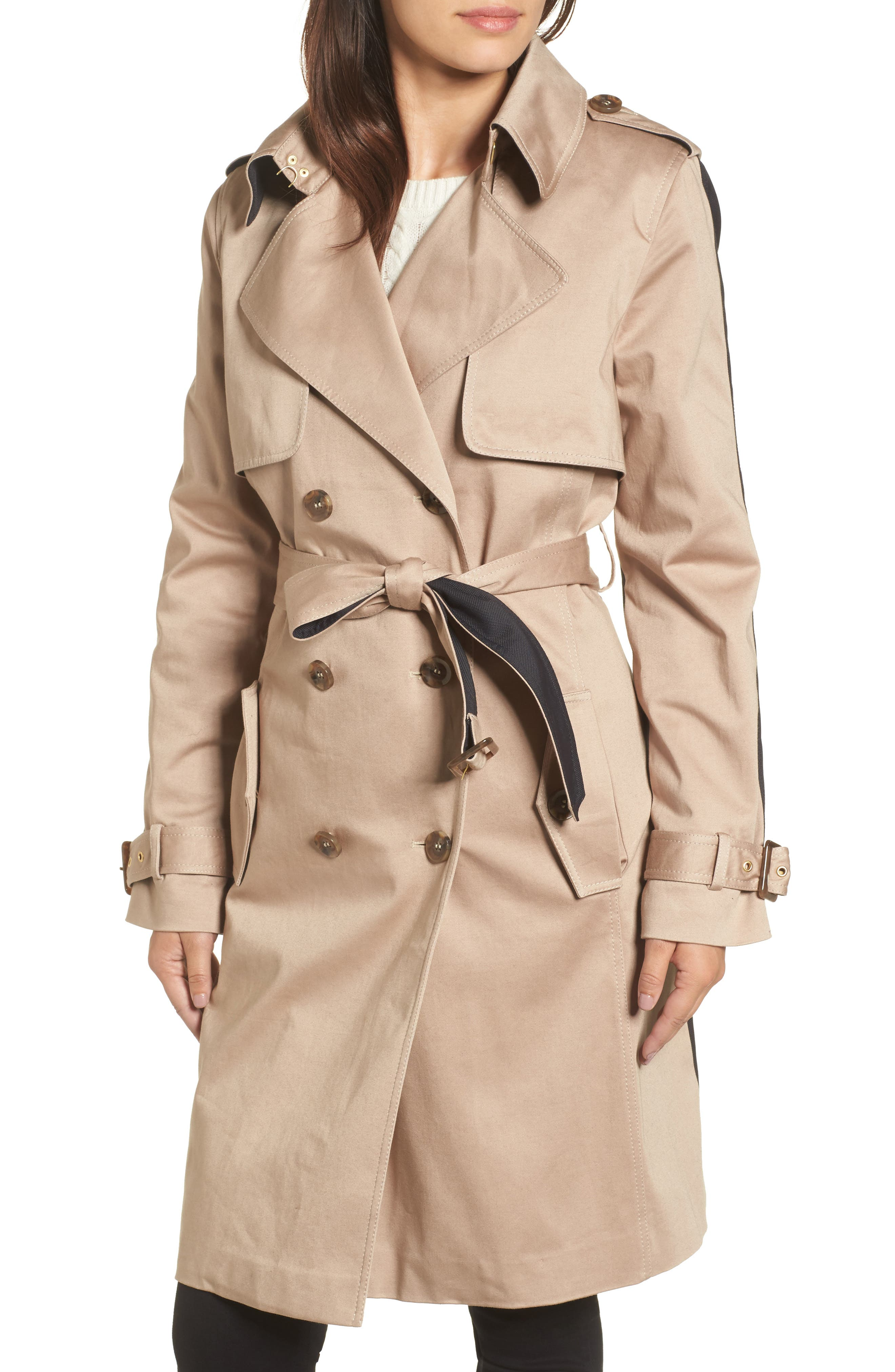 Allison Two-Tone Trench Coat,                             Alternate thumbnail 4, color,                             251