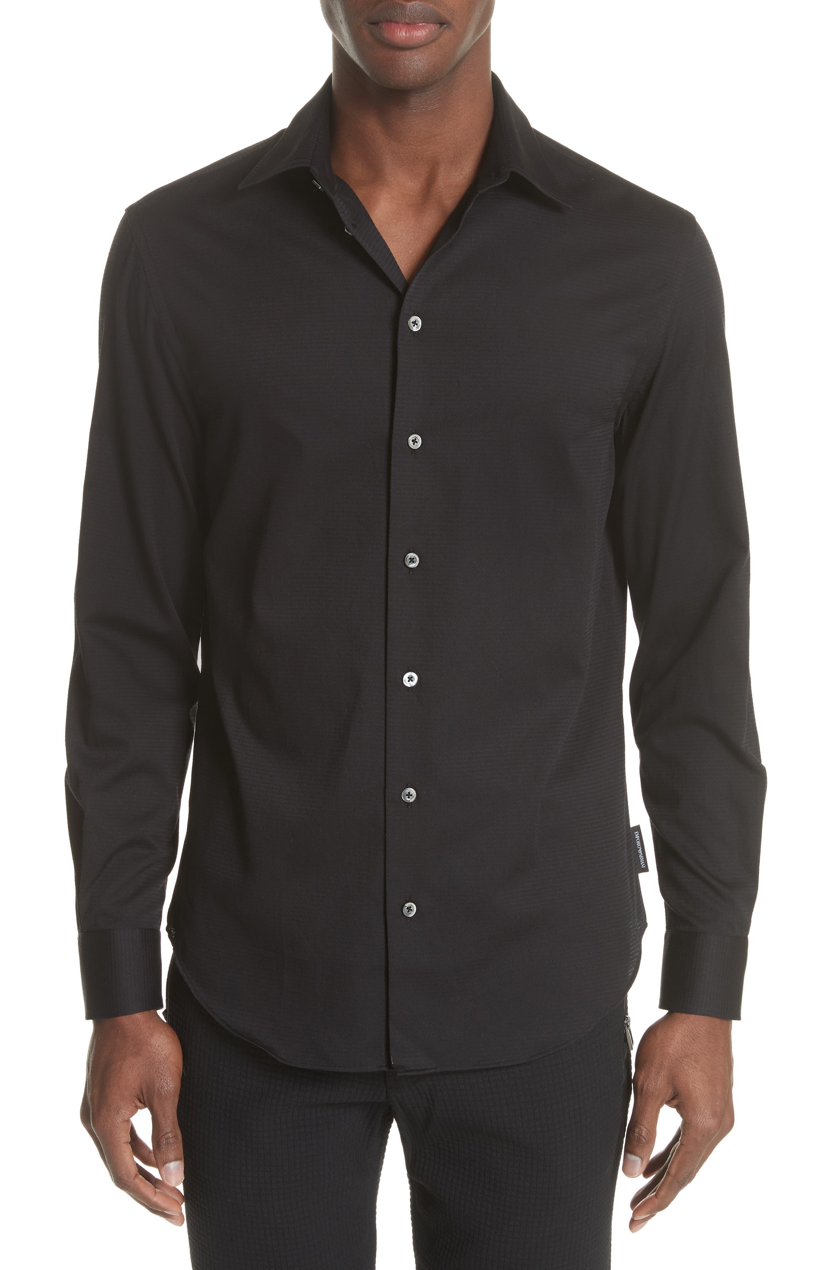 Slim Fit Solid Sport Shirt,                             Main thumbnail 1, color,                             ARMANI